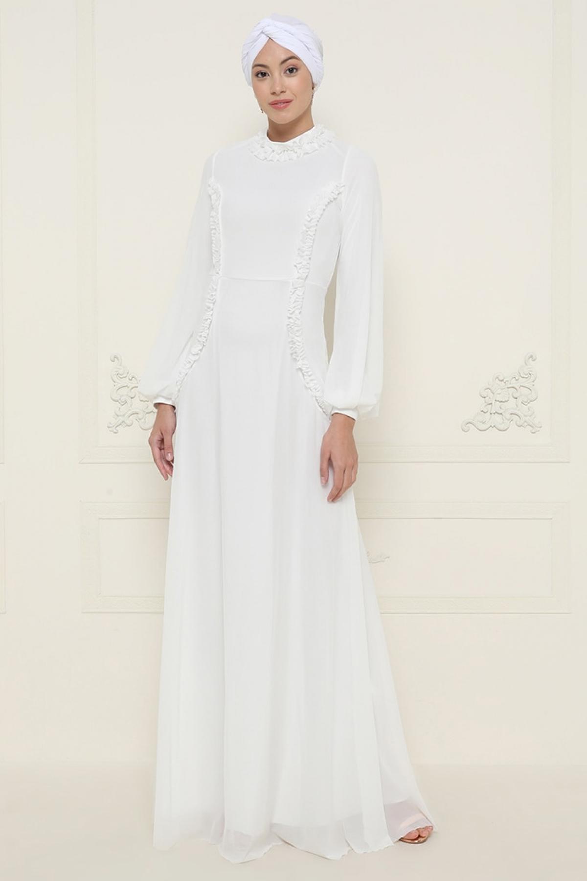 Mwedding Ekru Beyaz Fırfır Detaylı Tüllü Abiye Elbise