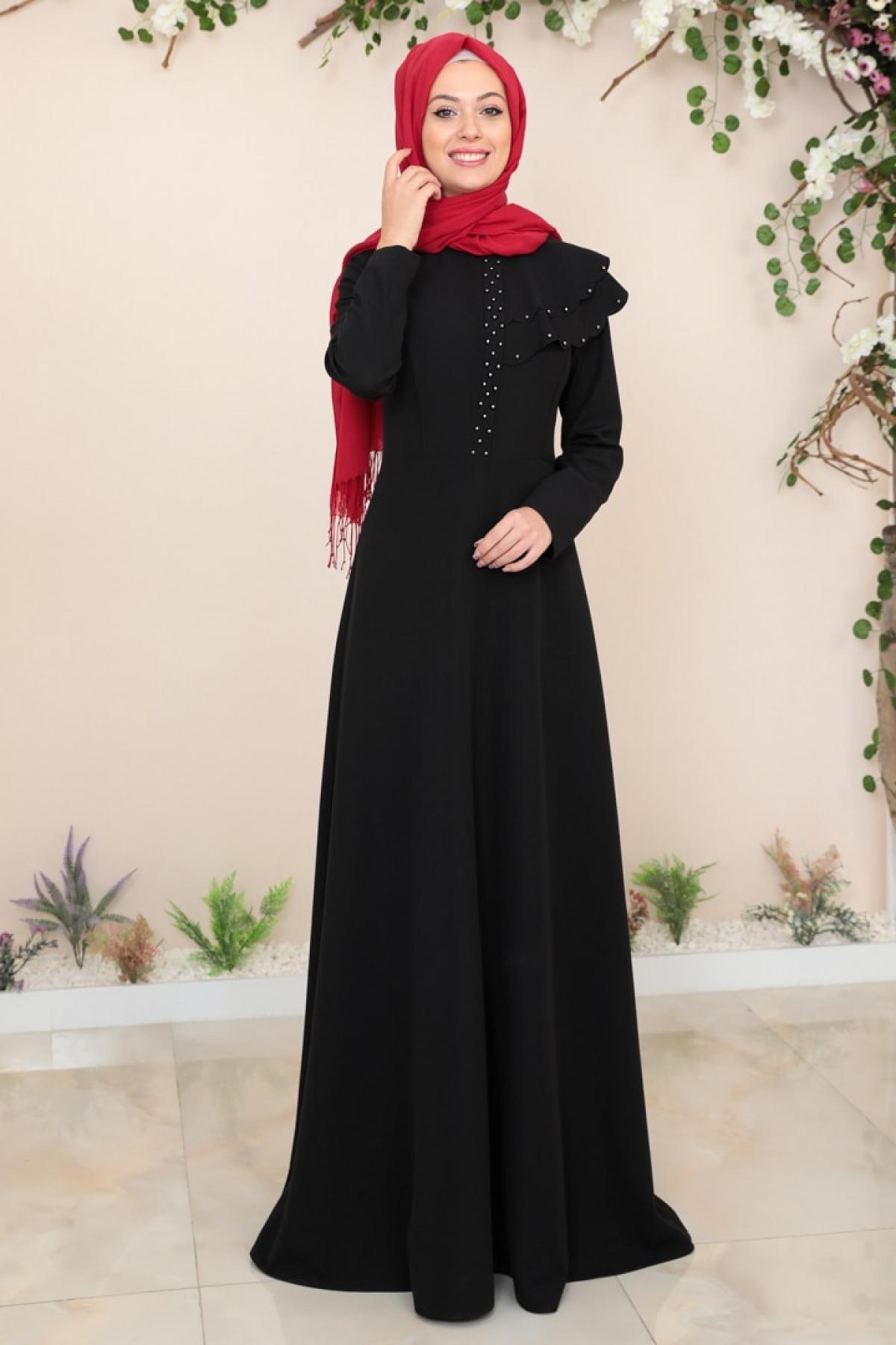 SEMRA AYDIN Siyah Bade Abiye Elbise