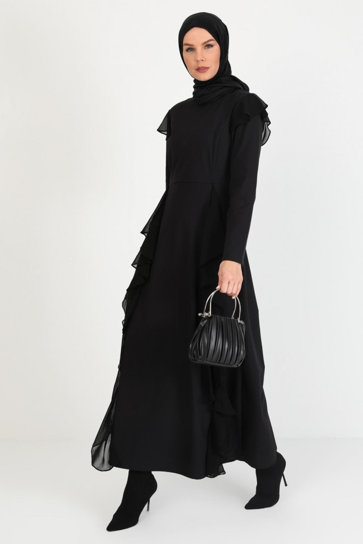 Ziwoman Siyah Fırfır Detaylı Abiye Elbise