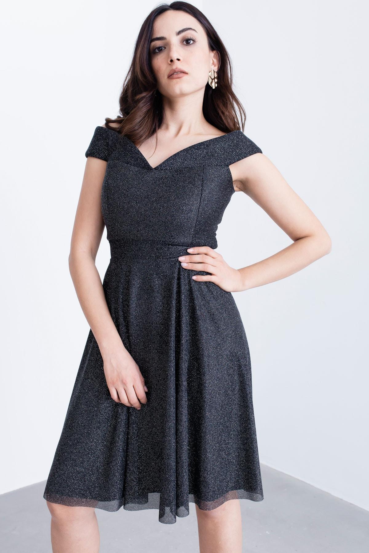 Lafaba Siyah Midi Abiye Elbise
