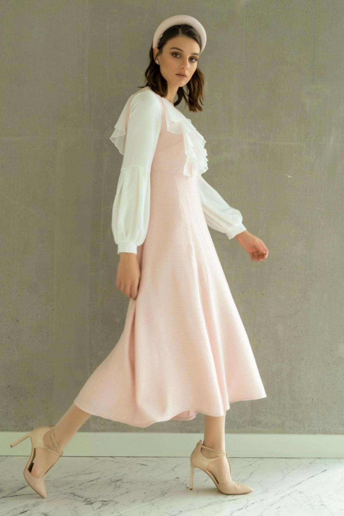 Al Tatari Pembe Tül Detaylı Elbise