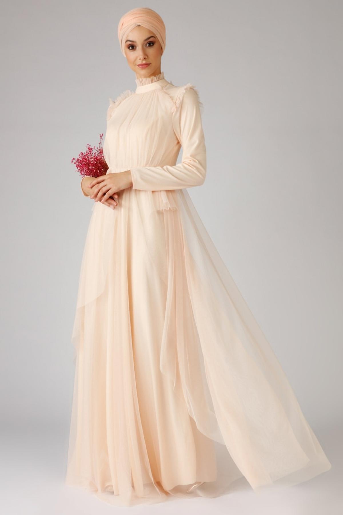 Mwedding Pudra Tüllü Abiye Elbise