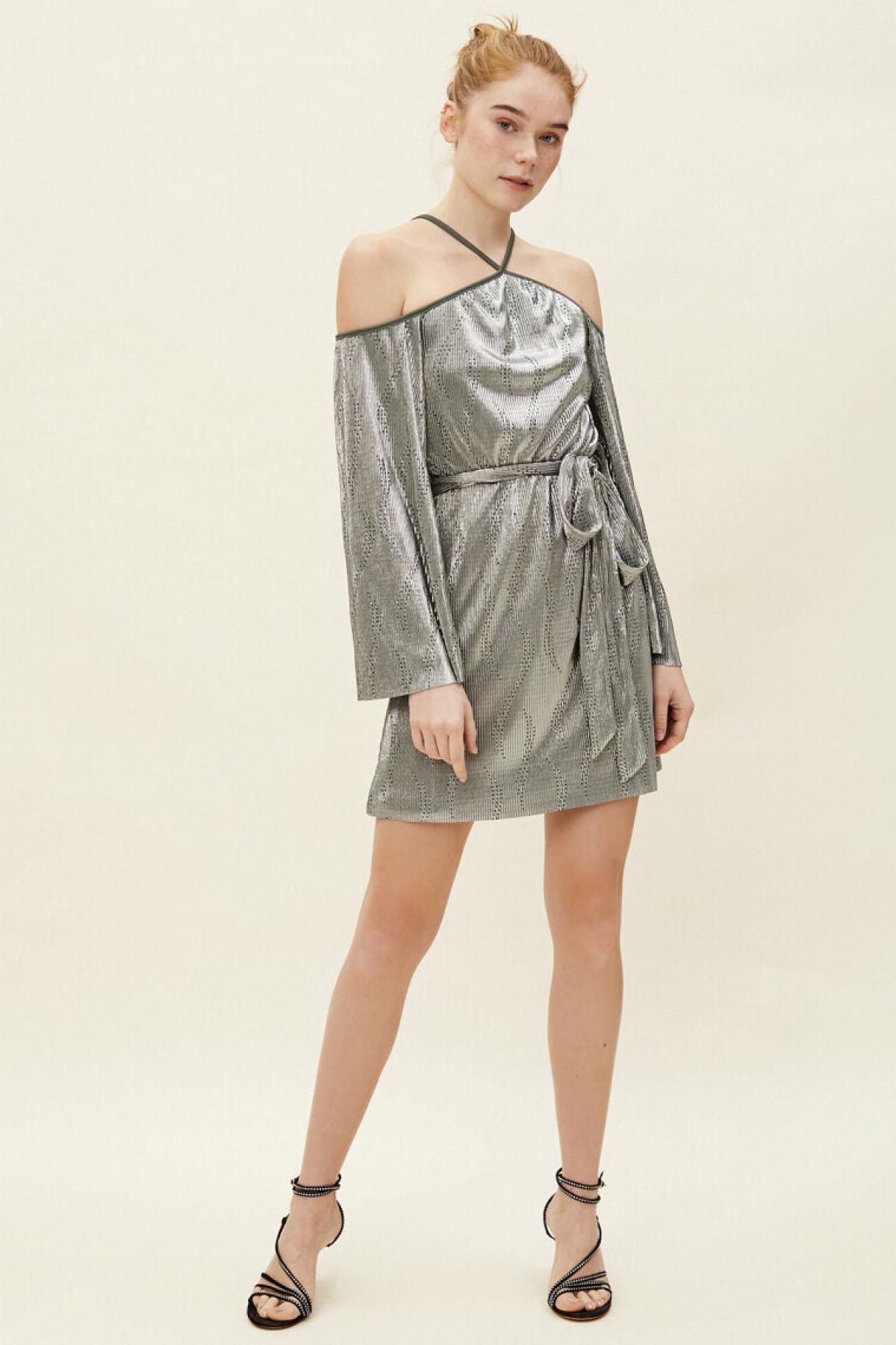 Koton Beli Bağlamalı Parlak Haki Mini Abiye Elbise