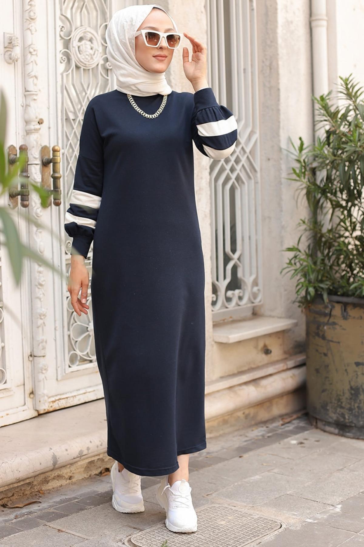 Tofisa Lacivert Kolları Şerit Detaylı Spor Elbise