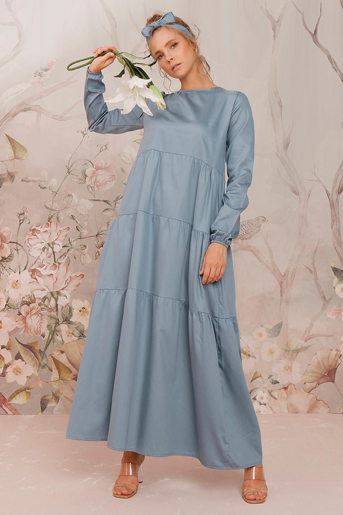Ceylan Otantik İndigo Düz Renk Kat Elbise