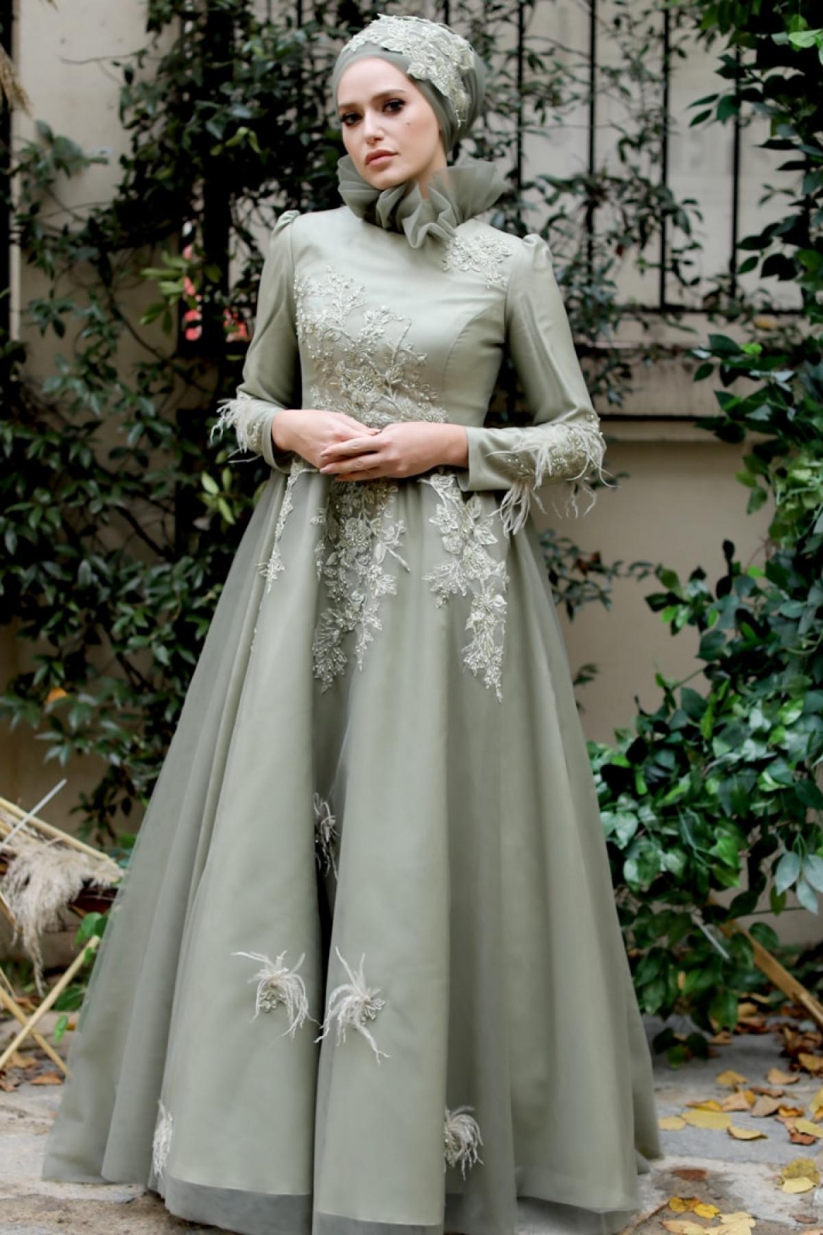 My Dreams Collection Yeşil Nevra Abiye Elbise