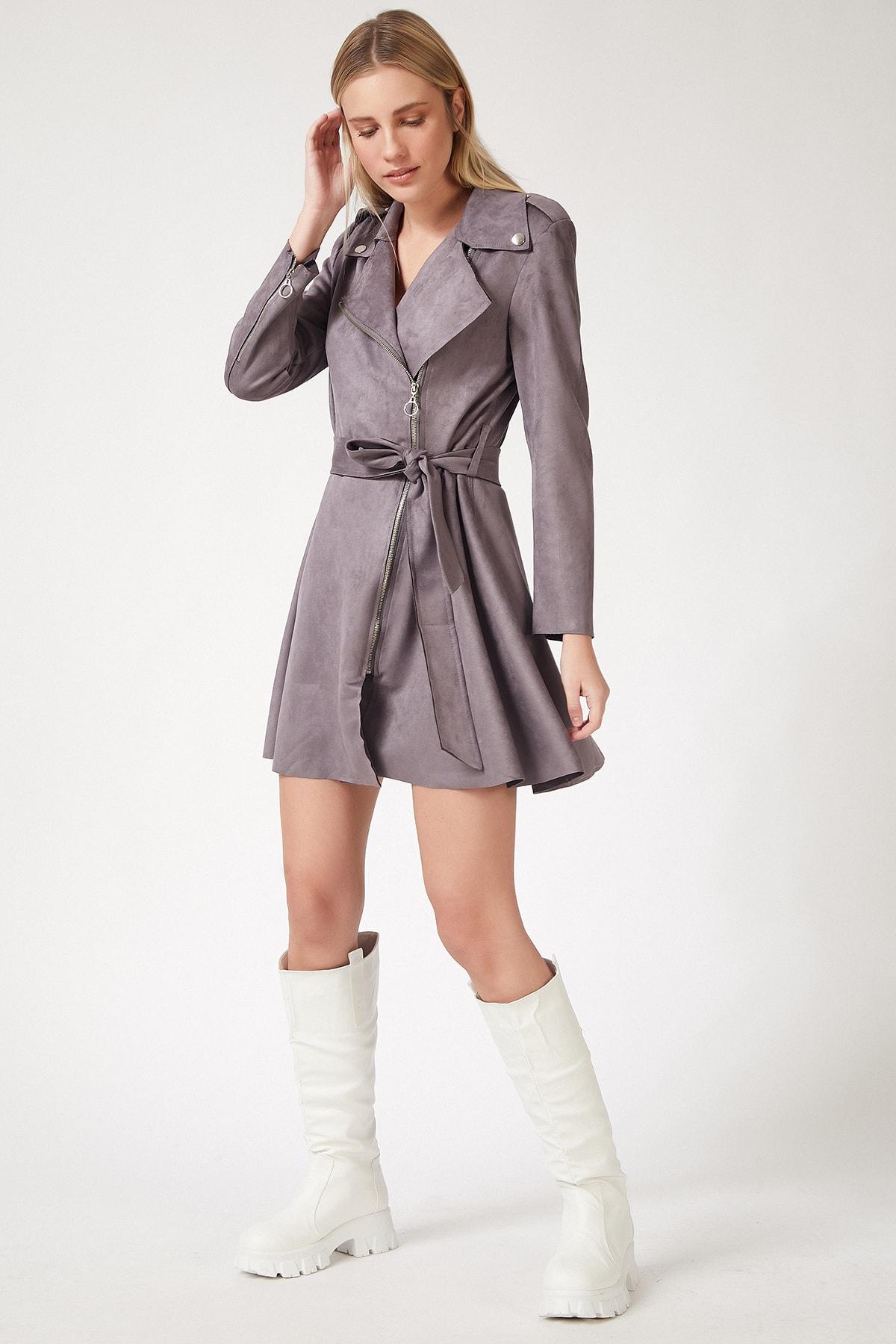 Happiness İst. Gri Süet Mini Trençkot Elbise
