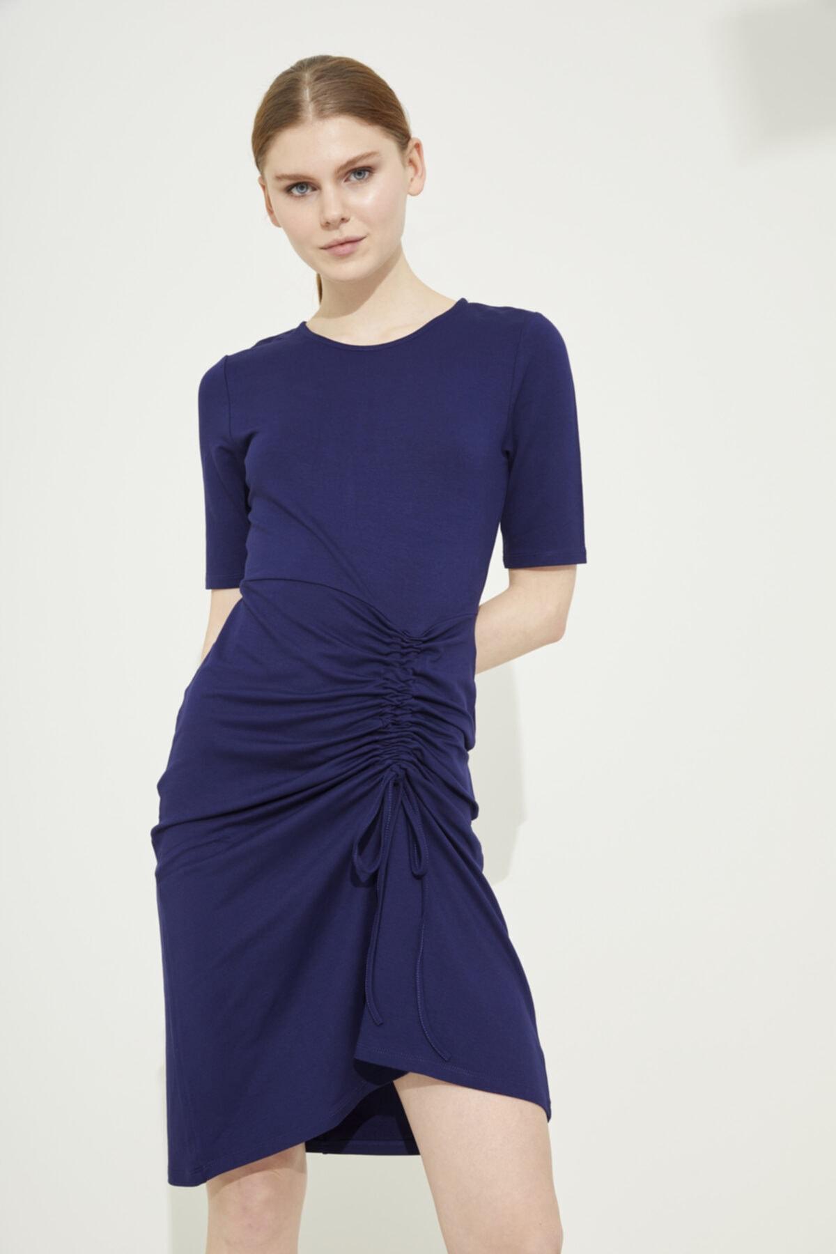 Adl Lacivert Kısa Kol Büzgülü Örme Mini Elbise