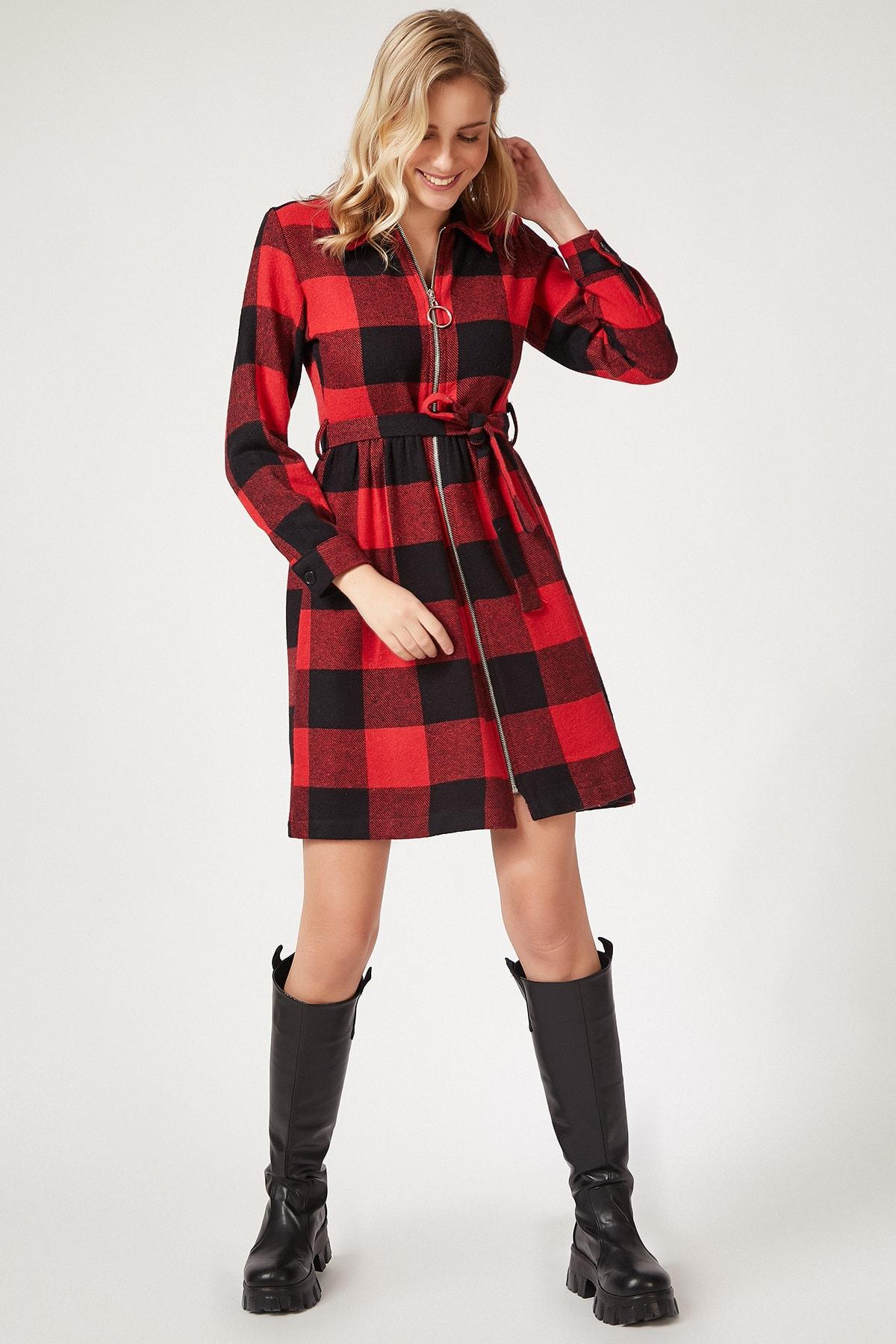 Happiness İst. Kırmızı Kışlık Kareli Fermuarlı Mini Elbise