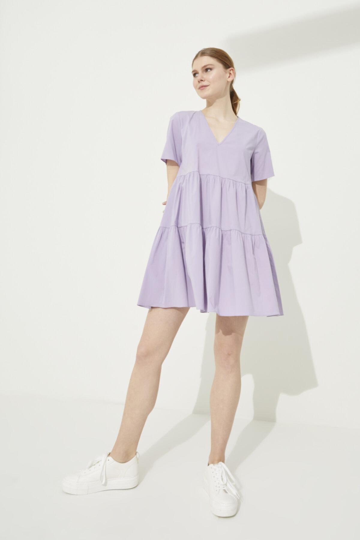 Adl Lila V Yaka Poplin Mini Elbise