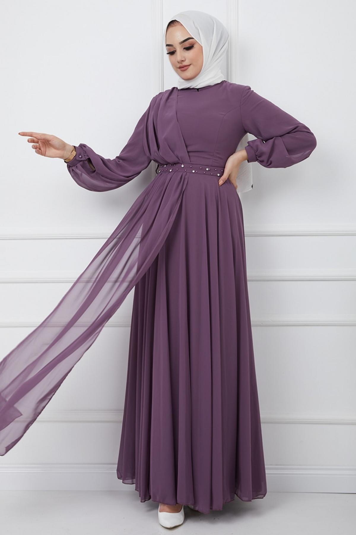 Olcay Lila Kemeri Taş ve İnci Süslemeli Şifon Detaylı Abiye Elbise