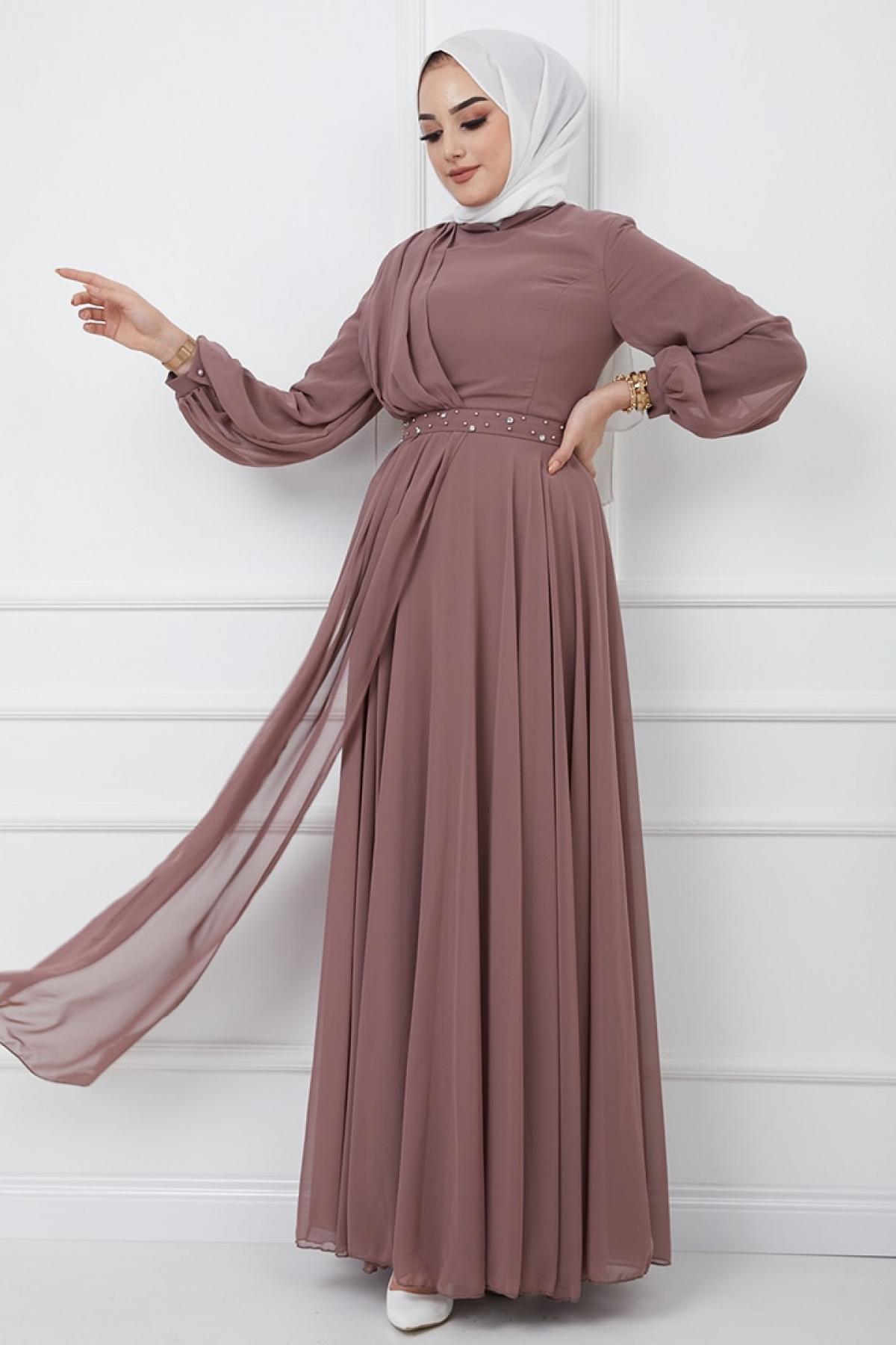 Olcay Gül Kurusu Kemeri Taş ve İnci Süslemeli Şifon Detaylı Abiye Elbise