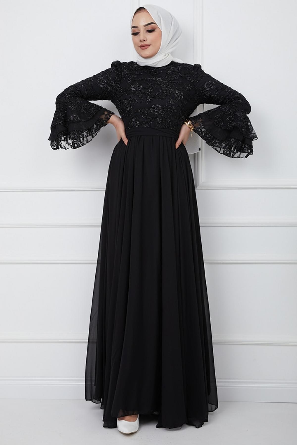 Olcay Siyah Simli Dantel Detaylı Kol Ağzı Fırfırlı Abiye Elbise