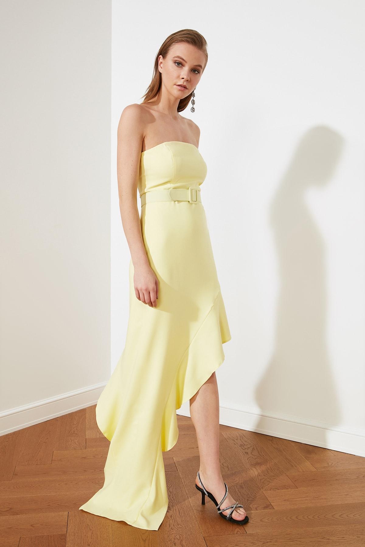 Trendyolmilla Straplez Sarı Yaka Detaylı Uzun Abiye Elbise