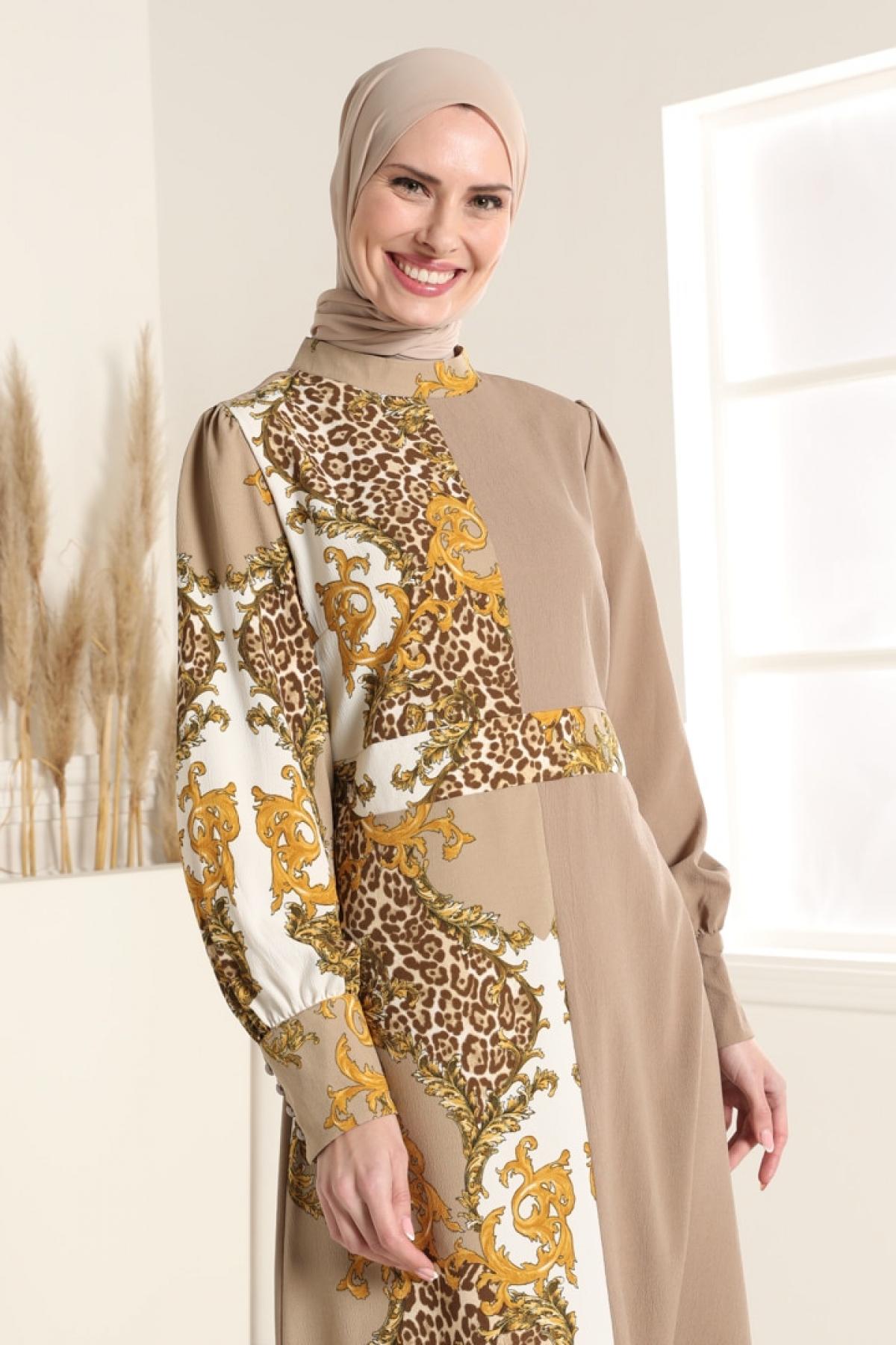 Tavin Vizon Desenli Elbise
