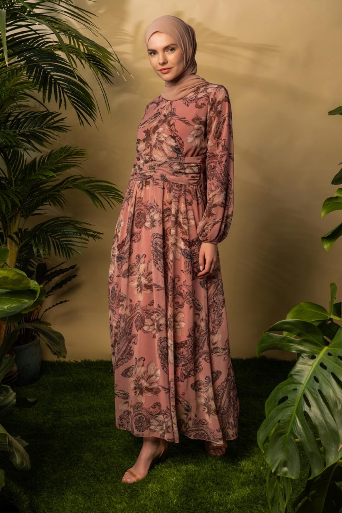 BÜRÜN Soğan Kabuğu Çiçek Desenli Elbise