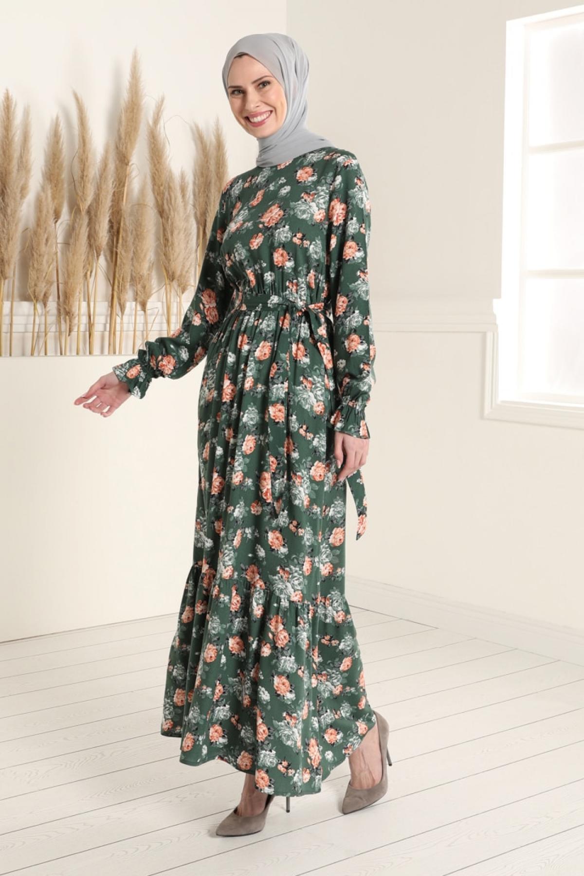 Tavin Haki Doğal Kumaşlı Çiçek Desenli Beli Lastikli Elbise