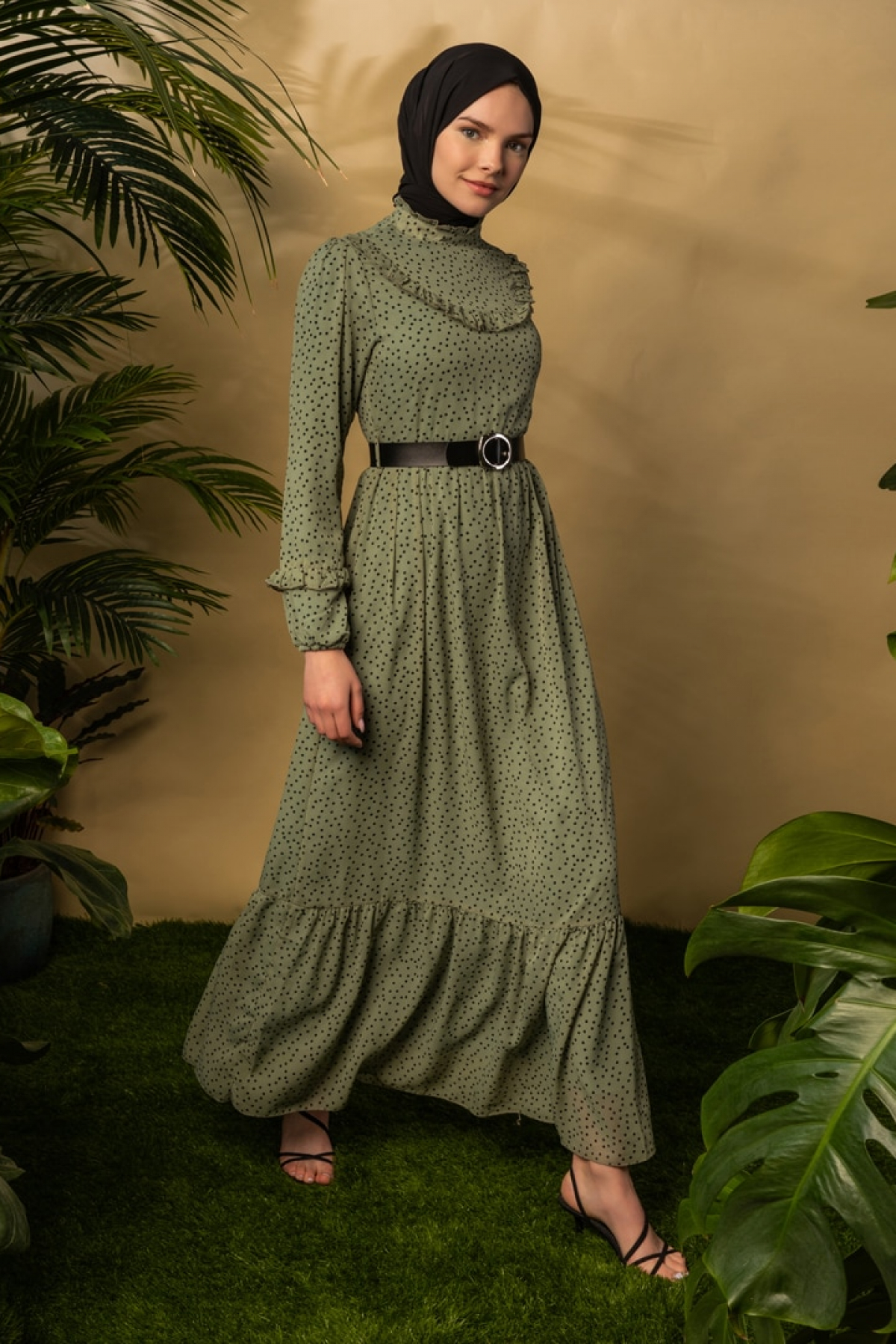 BÜRÜN Mint Yeşili Puantiyeli Desenli Elbise