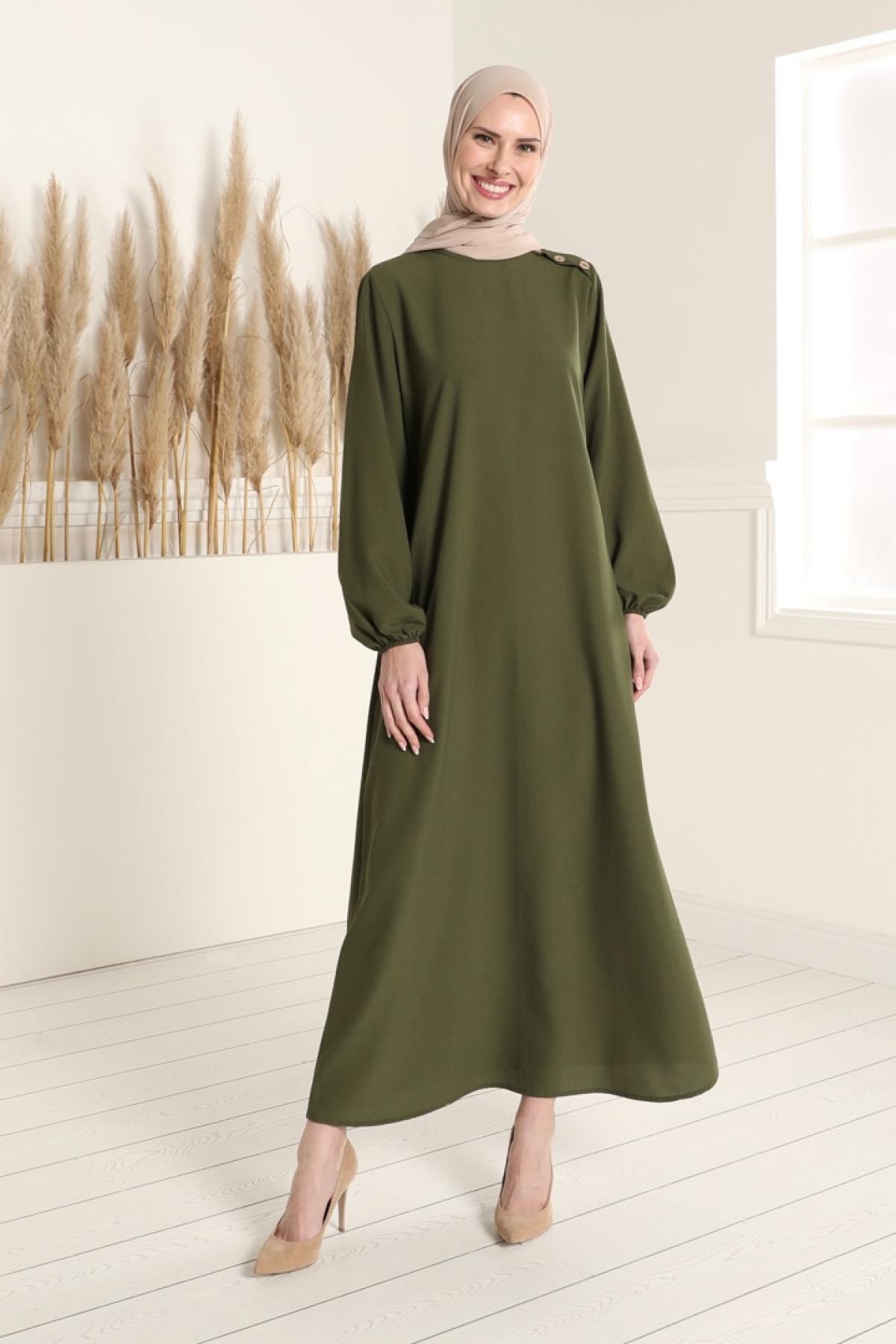 Tavin Haki Kol Uçları Lastik Detaylı Elbise