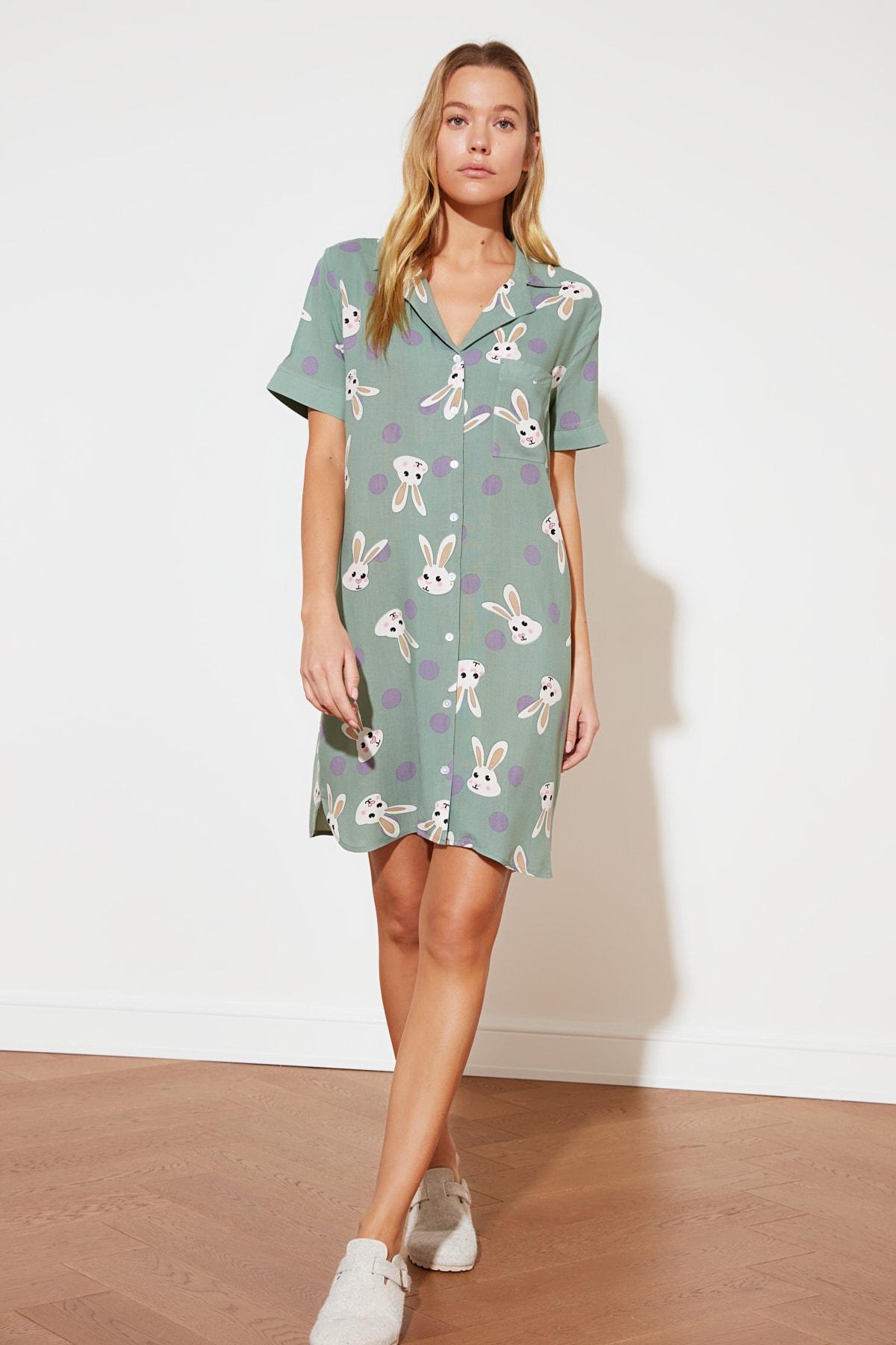 Trendyolmilla Mint Tavşan Desenli Dokuma Mini Elbise
