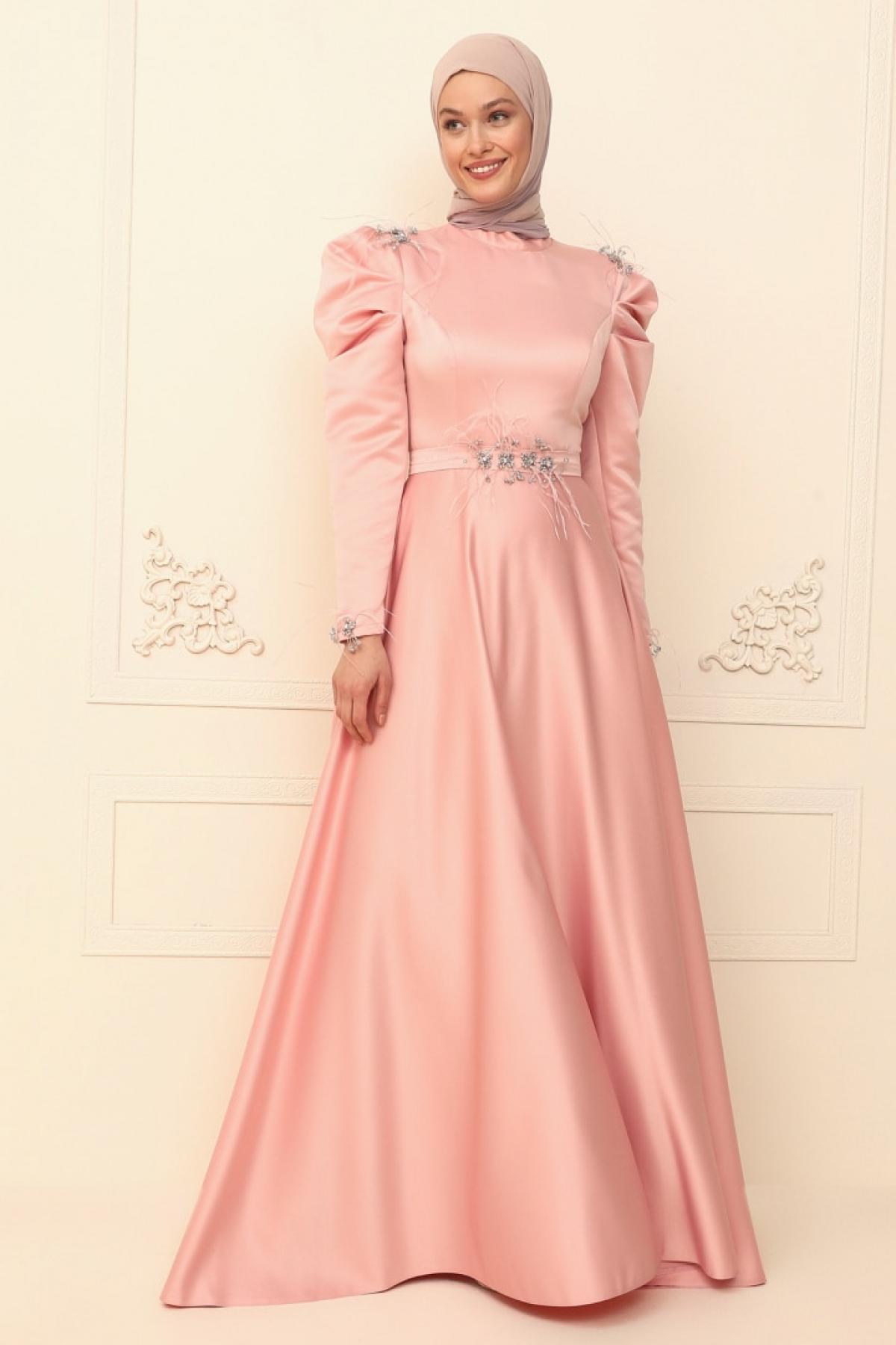 Burak Baran Fashion Koyu Pudra Ala Abiye Elbise