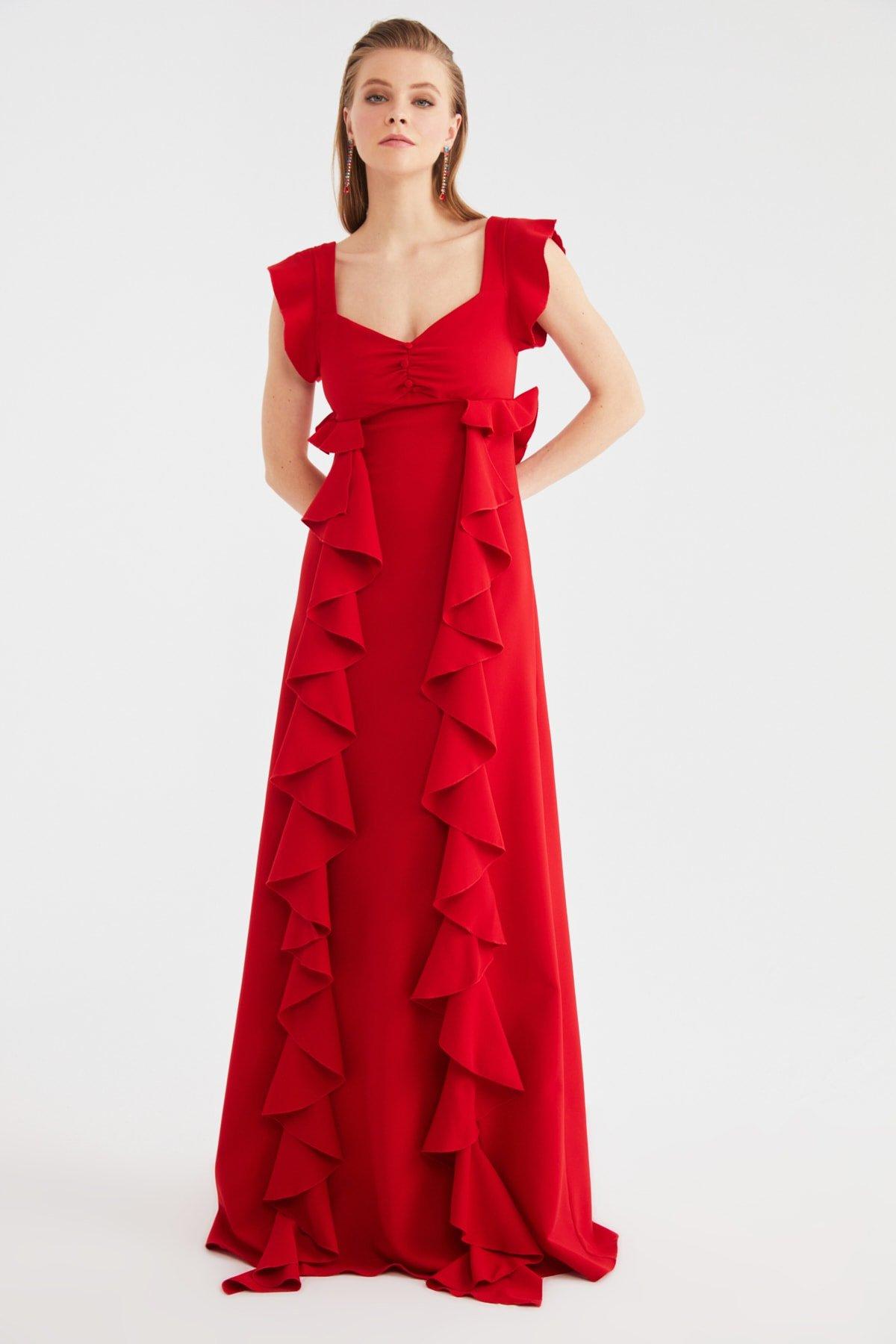 Trendyolmilla Sırt Dekolteli Kırmızı Volanlı Uzun Abiye Elbise