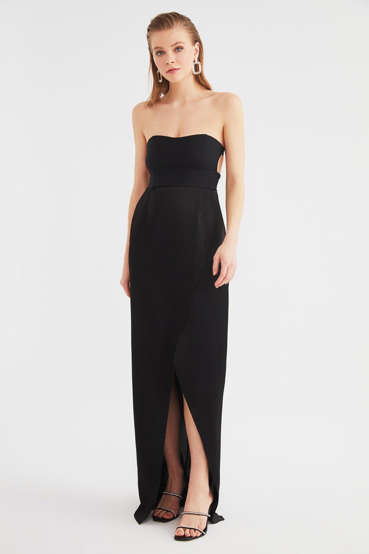 Trendyolmilla Straplez Siyah Yaka Detaylı Uzun Abiye Elbise