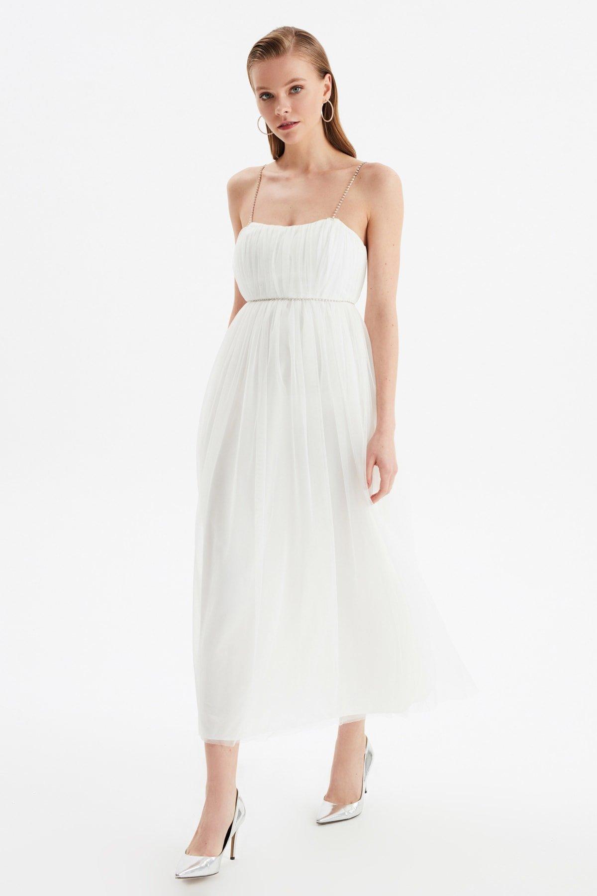 Trendyolmilla Askılı Ekru Işıltılı Aksesuar Detaylı Uzun Abiye Elbise