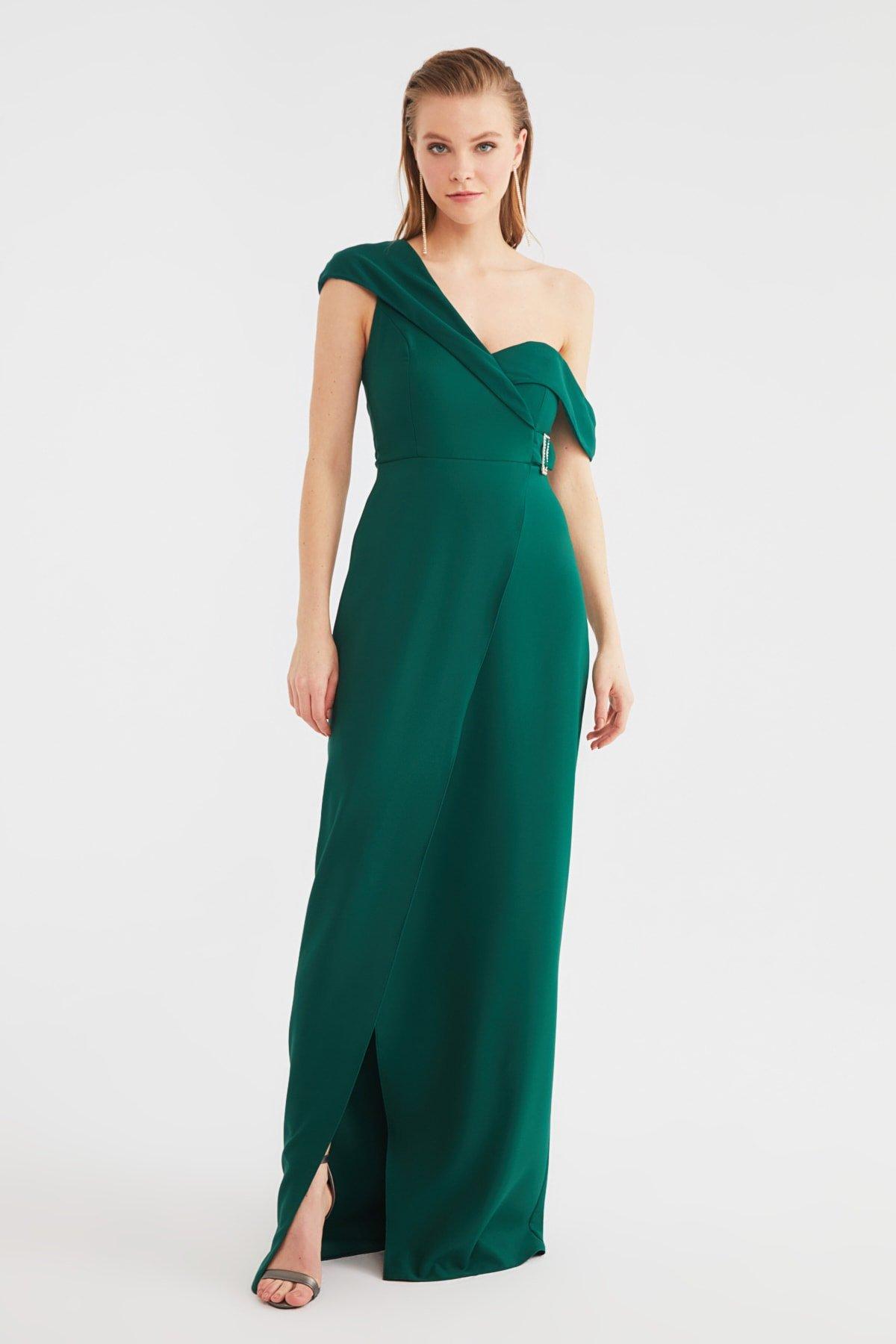 Trendyolmilla Zümrüt Yeşili Ceket Yakalı Uzun Abiye Elbise