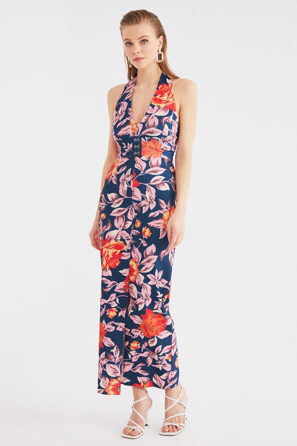 Trendyolmilla Renkli Yaka Detaylı Uzun Abiye Elbise