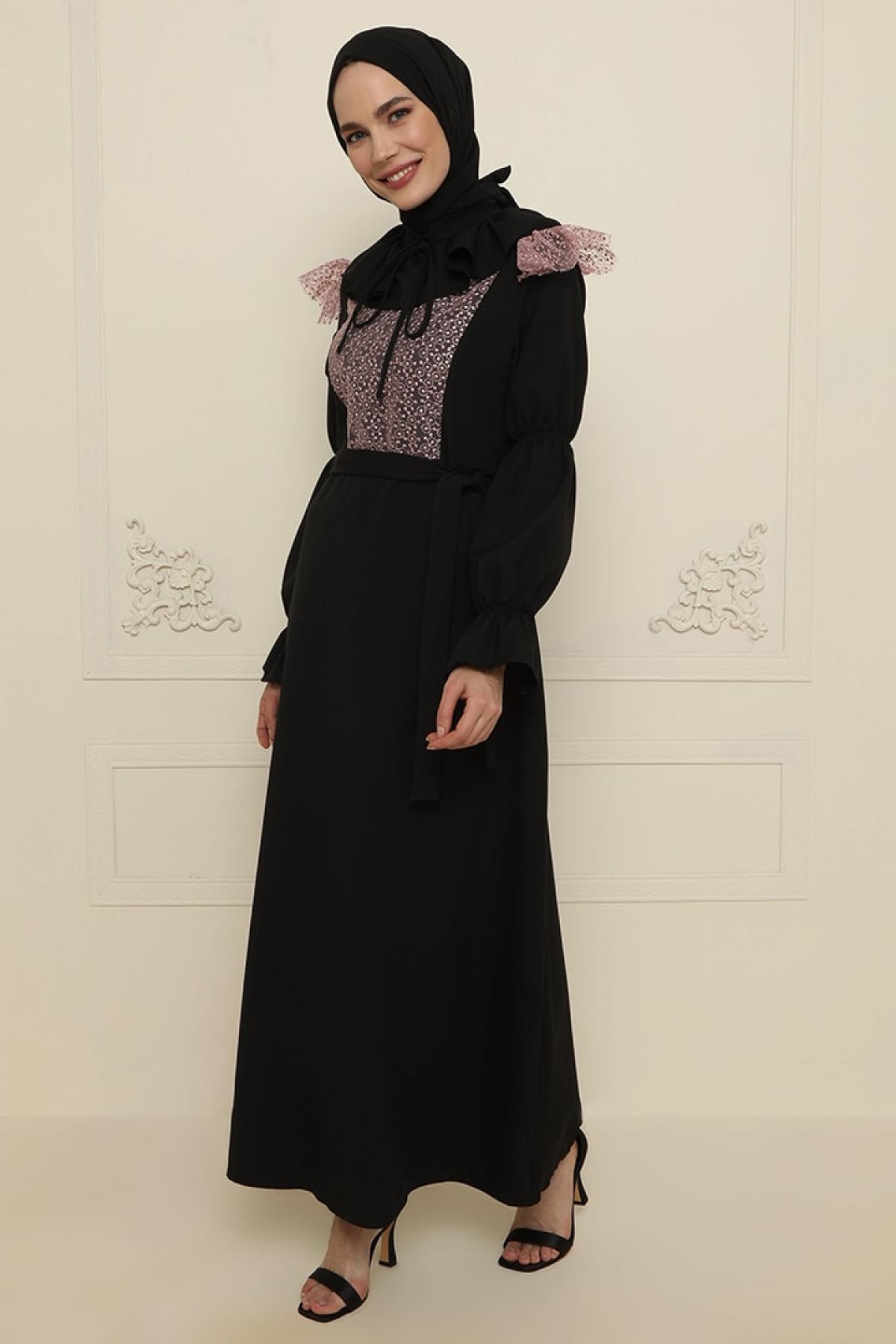 Gold Dresses Siyah Yaka Detaylı Abiye Elbise