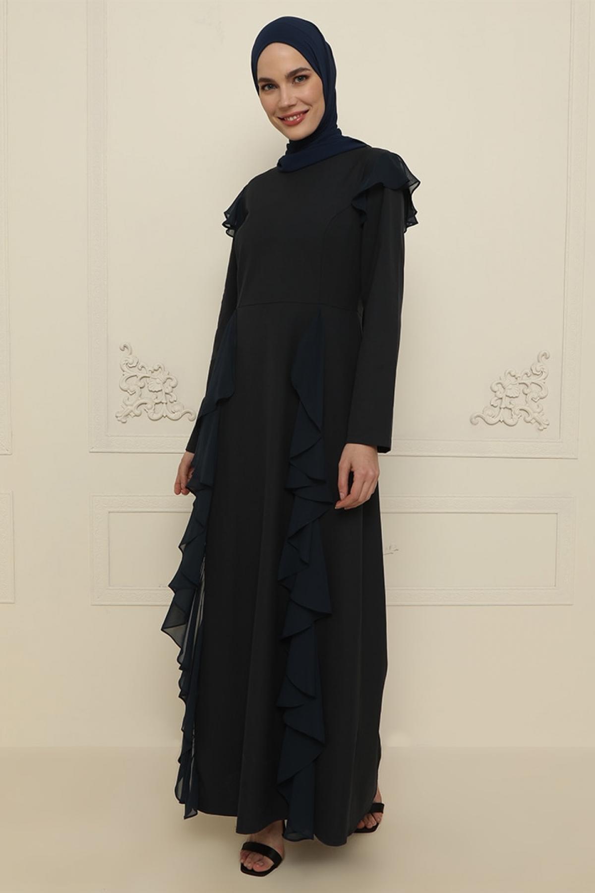 Ziwoman Lacivert Fırfır Detaylı Abiye Elbise
