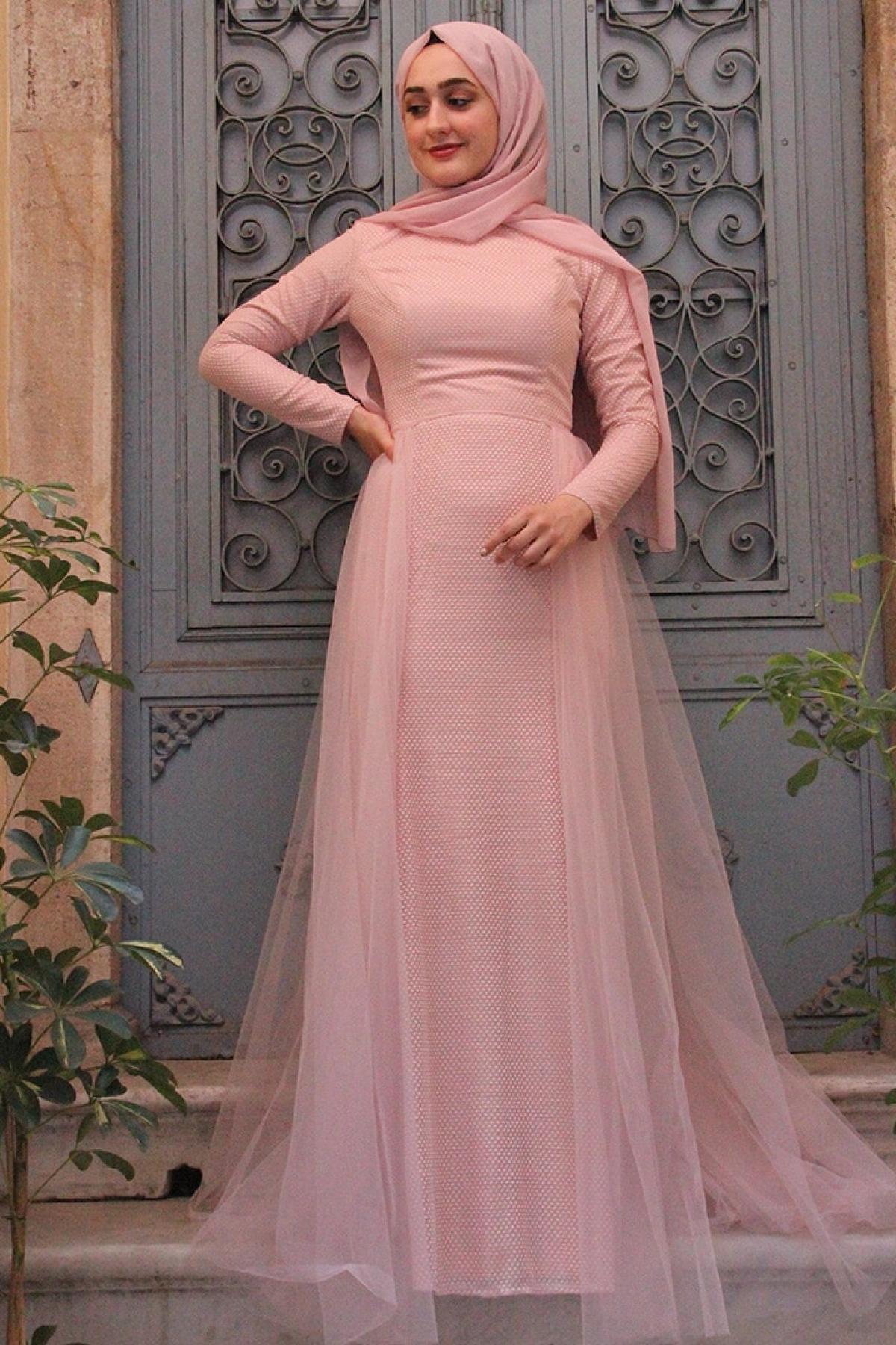 Zehrace Pudra Petek Nişanlık Abiye Elbise