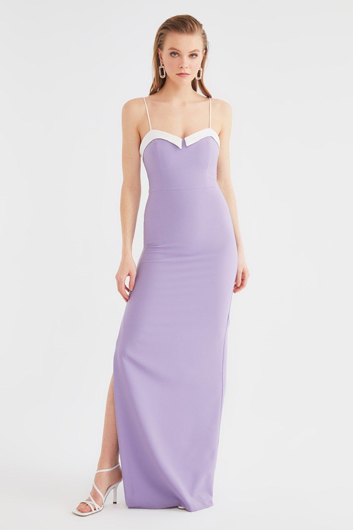 Trendyolmilla Askılı Lila Yaka Detaylı Uzun Abiye Elbise