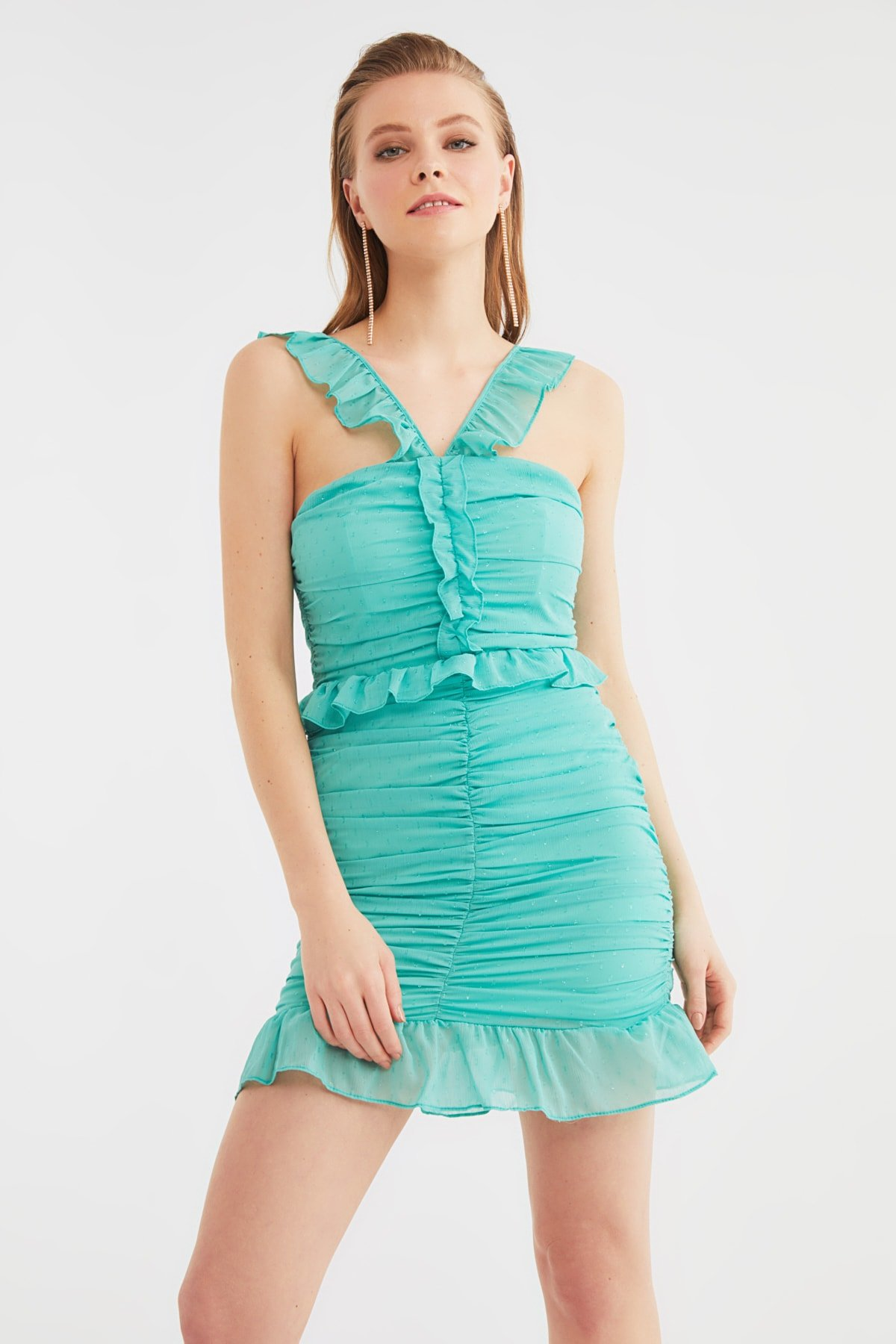 Trendyolmilla Askılı Mint Yaka Detaylı Mini Abiye Elbise