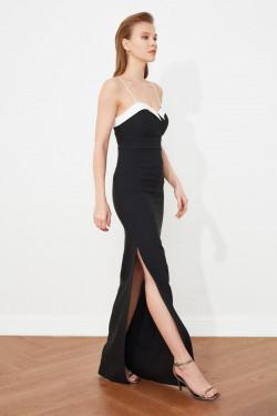 Trendyolmilla Askılı Siyah Yaka Detaylı Uzun Abiye Elbise