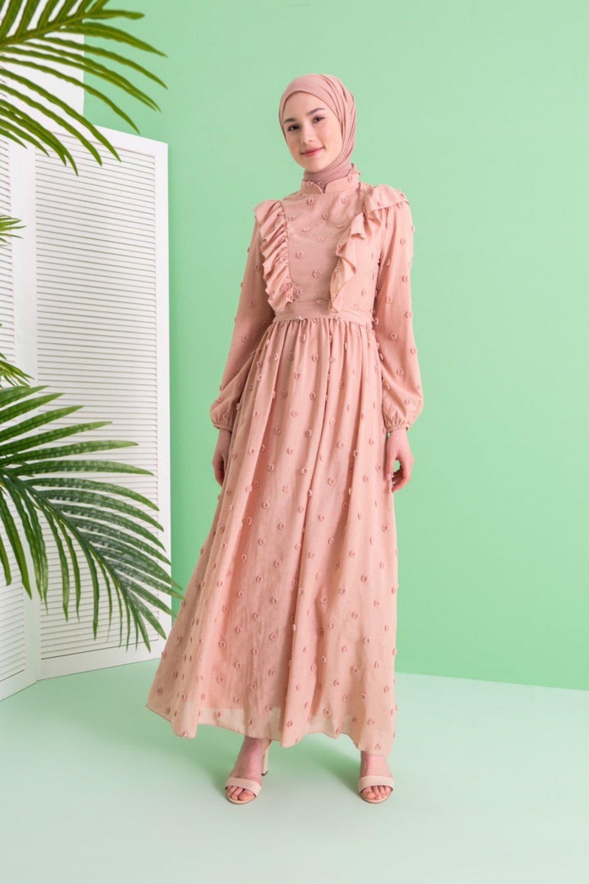 LOREEN Somon Volan Detaylı Desenli Elbise