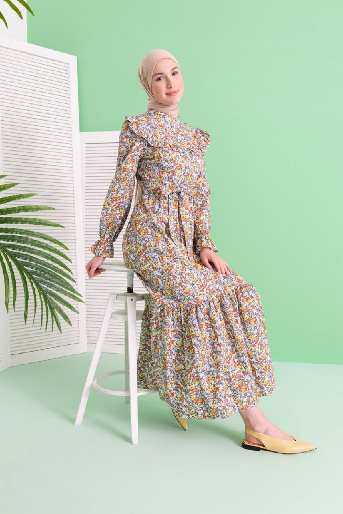 LOREEN Haki Desenli Elbise