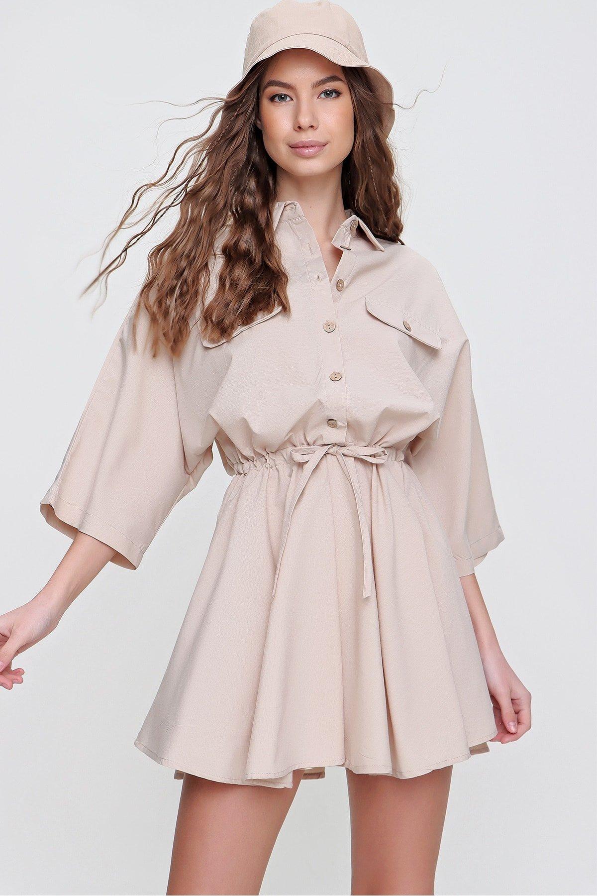 Trend Alaçatı Stili Bej Safari Dokuma Mini Gömlek Elbise