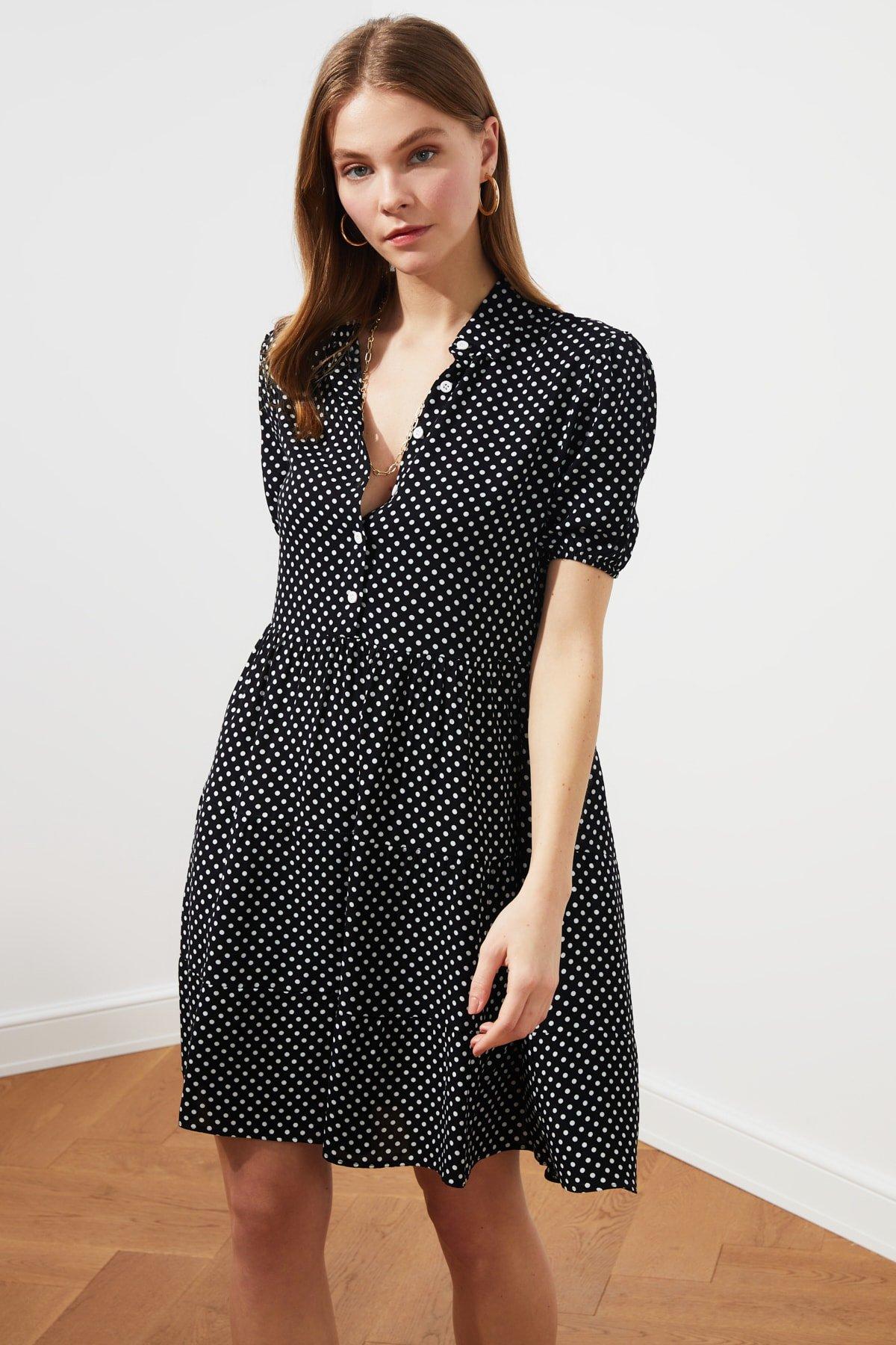 Trendyolmilla Siyah Puantiyeli Mini Elbise