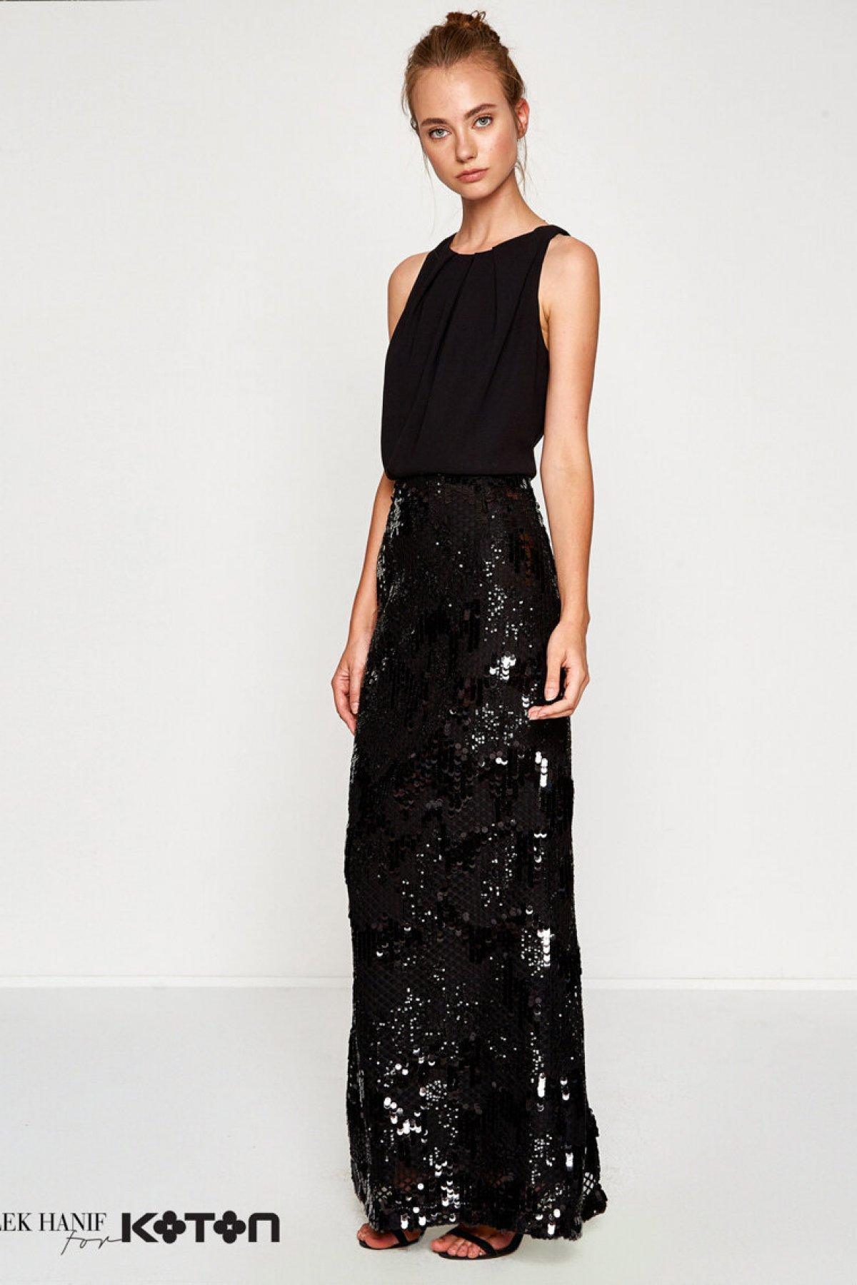 Koton Dilek Hanif Siyah Uzun Abiye Elbise