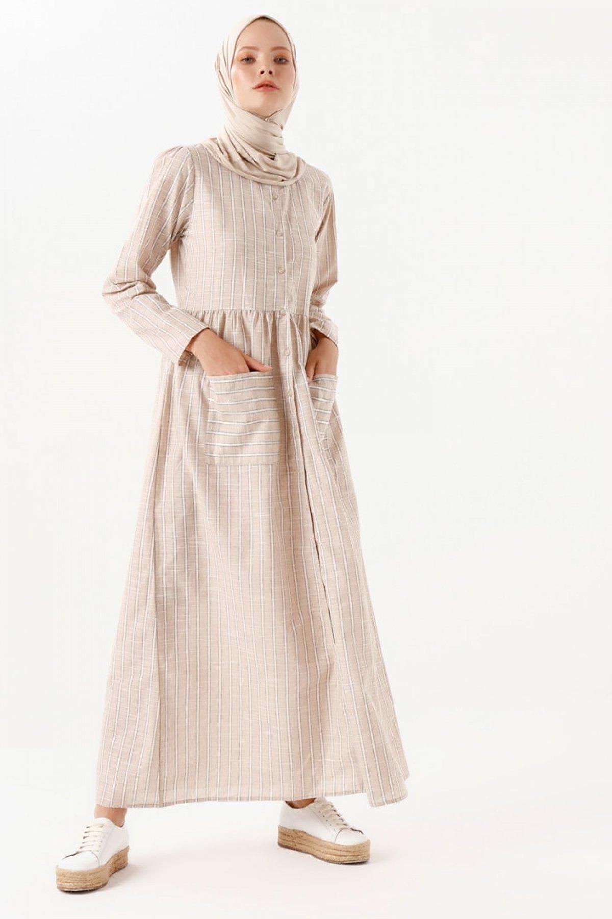 Phull Bej Çizgili Elbise