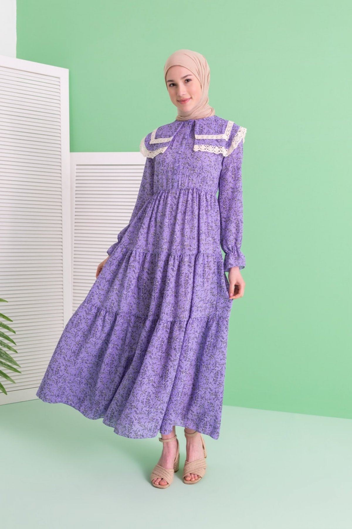 LOREEN Mor Desenli Elbise
