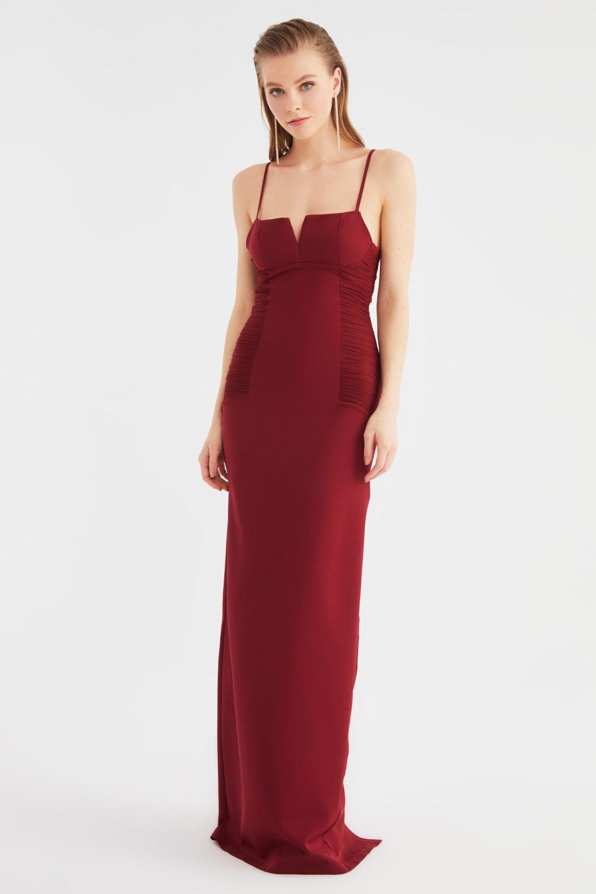 Trendyolmilla Askılı Bordo Yaka Detaylı Uzun Abiye Elbise