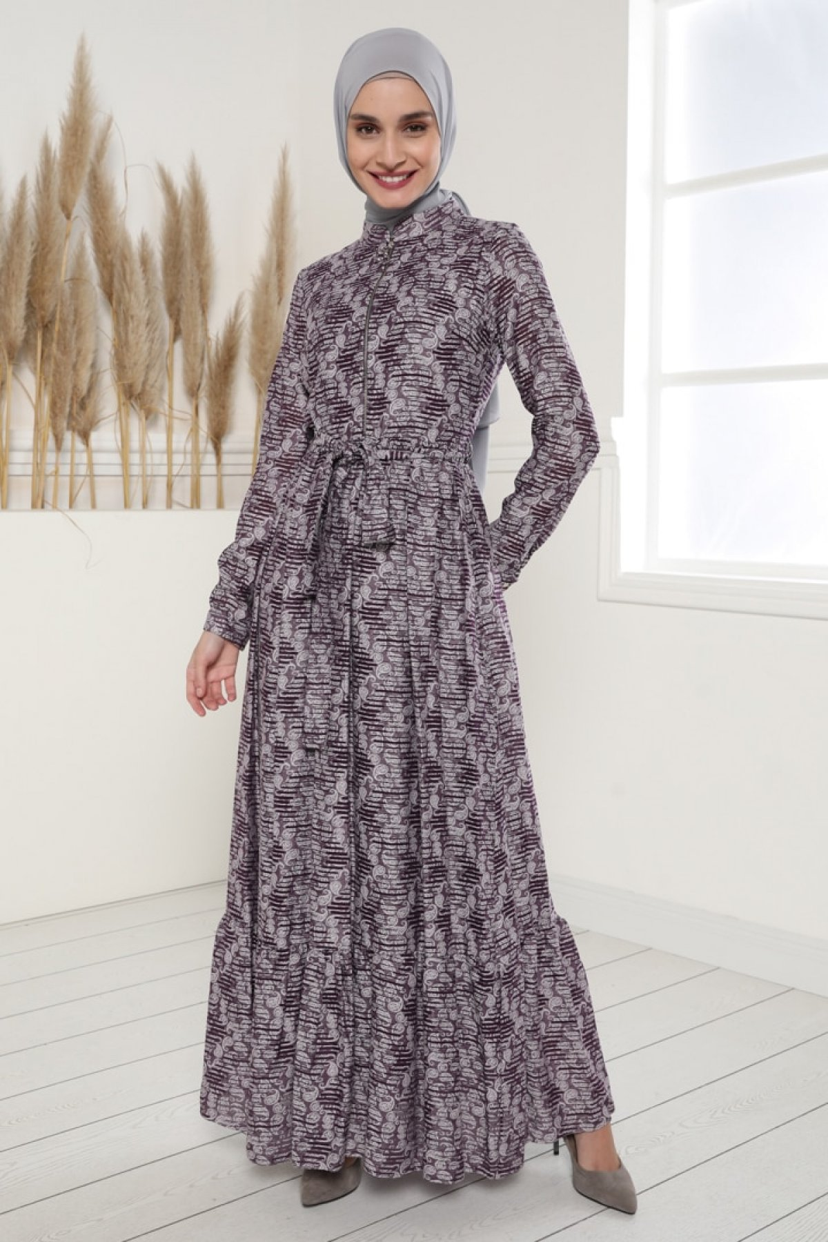 Tavin Mor Kuşak Detaylı Jakarlı Desenli Elbise