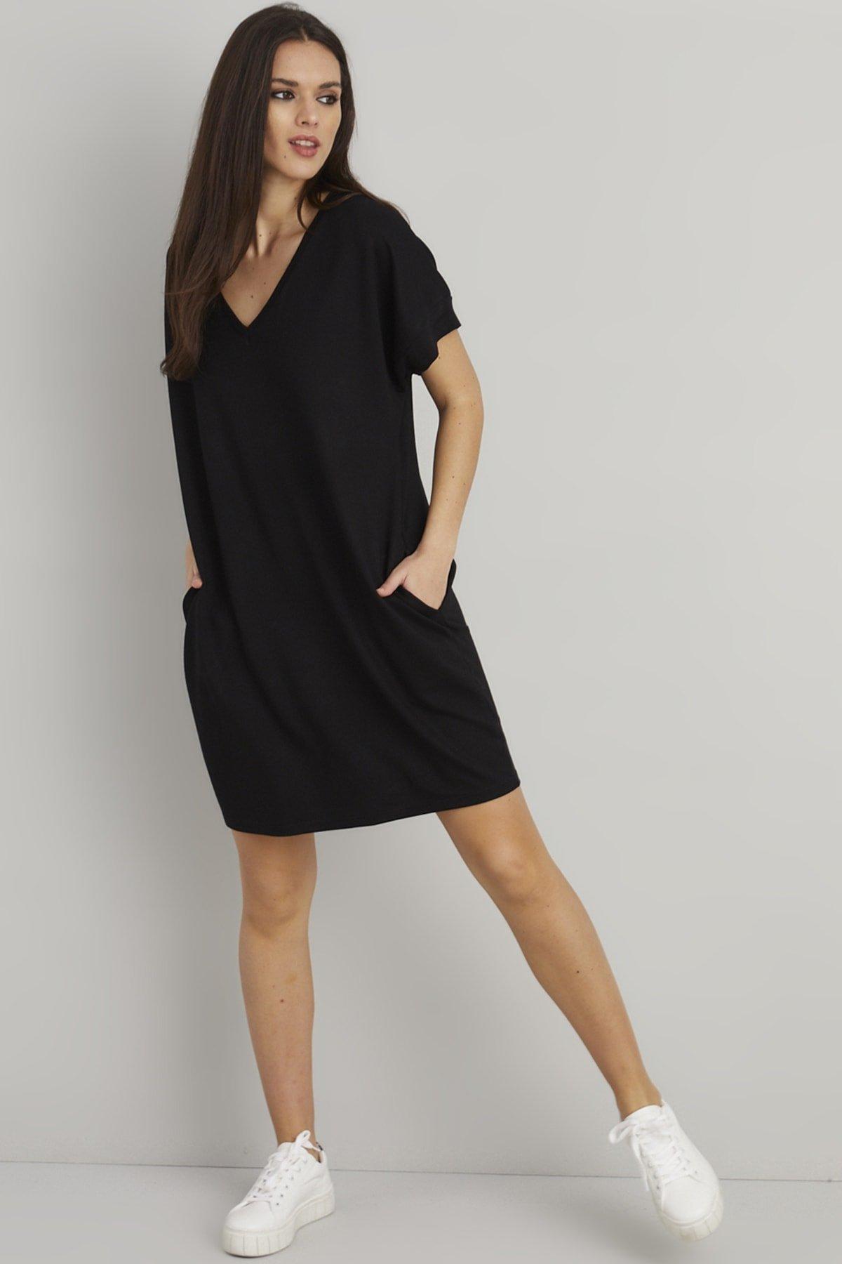Cool & Sexy Siyah Sırt Baskılı Cepli Mini T-shirt Elbise