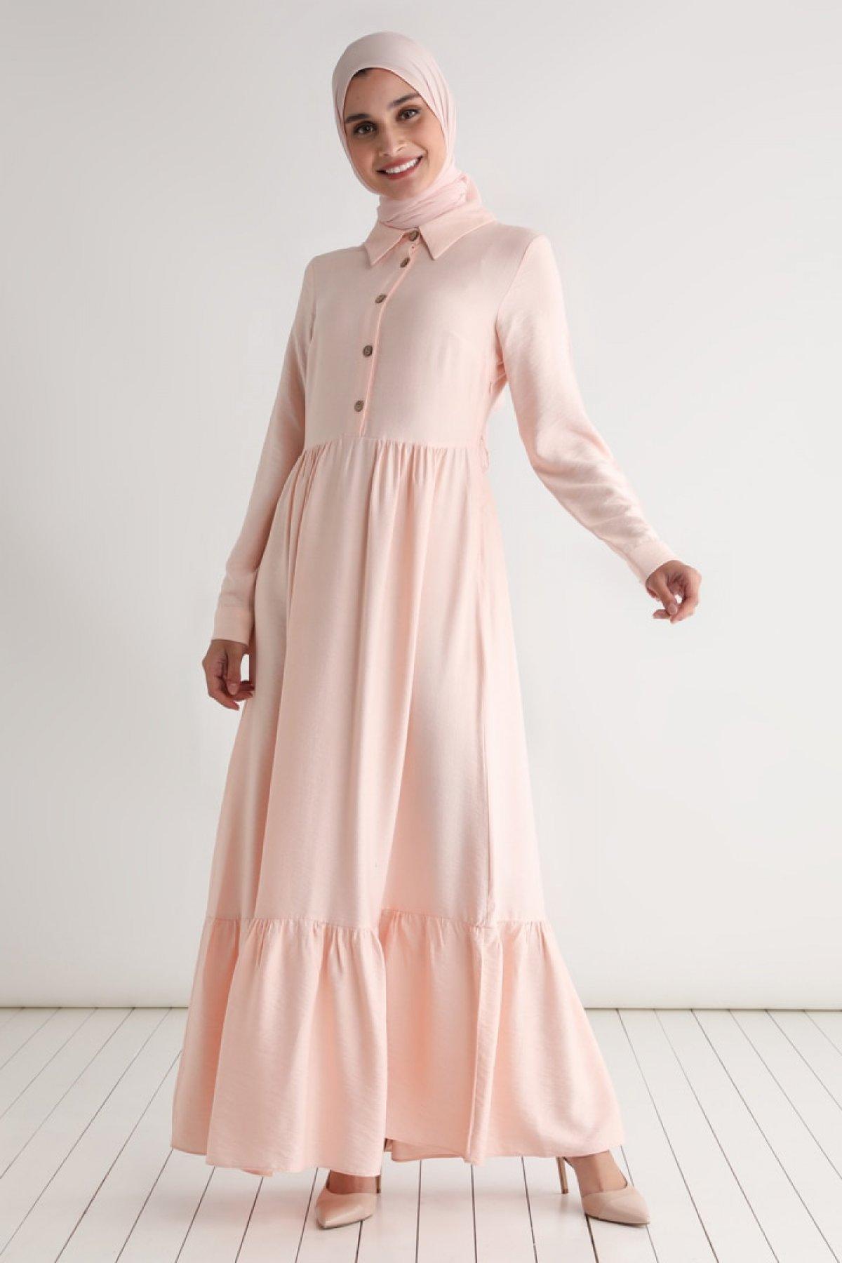 Tavin Pudra Kuşaklı Düğme Detaylı Elbise
