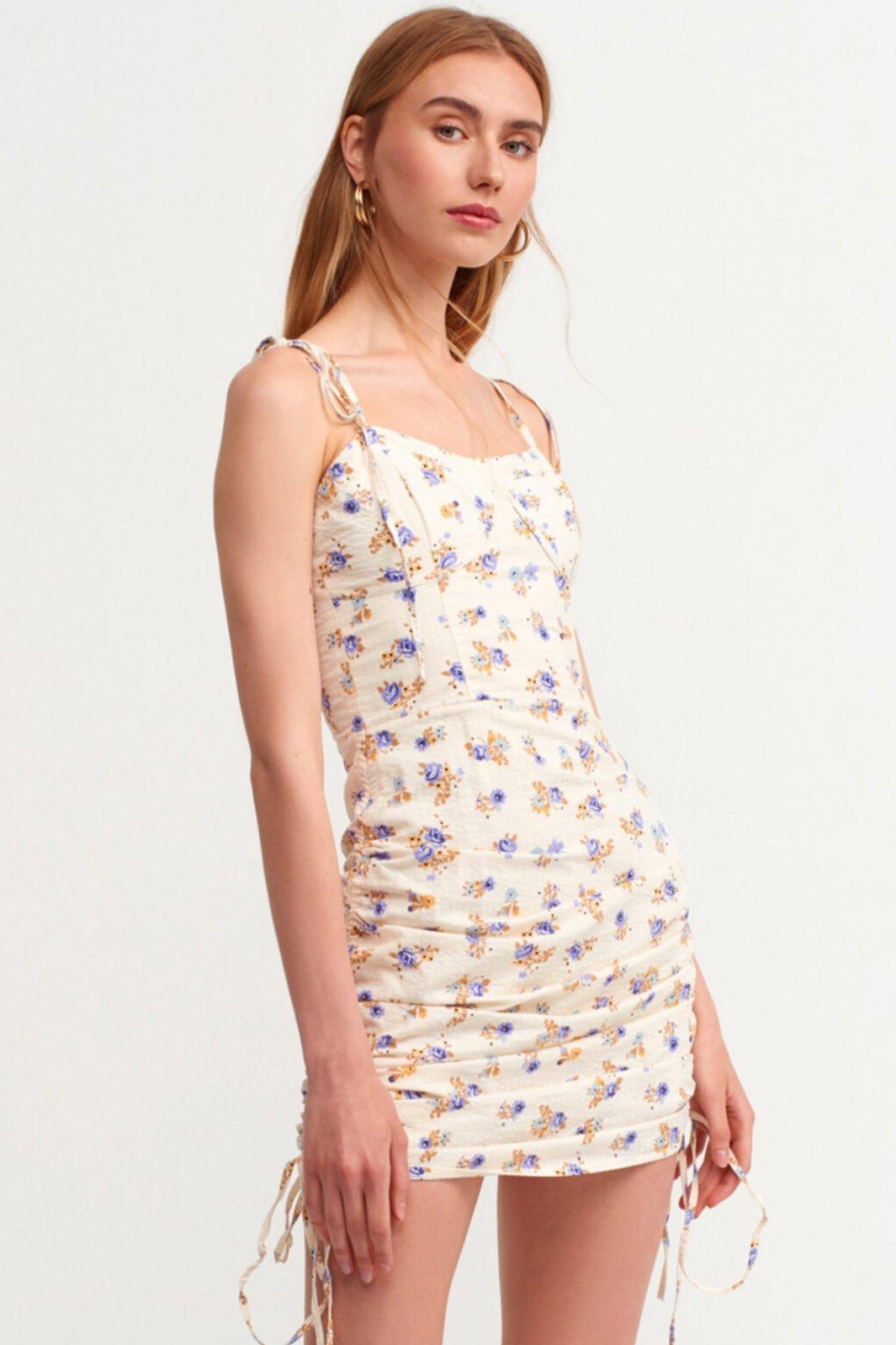 Dilvin Büzgü Detaylı Askılı Mor Mini Elbise