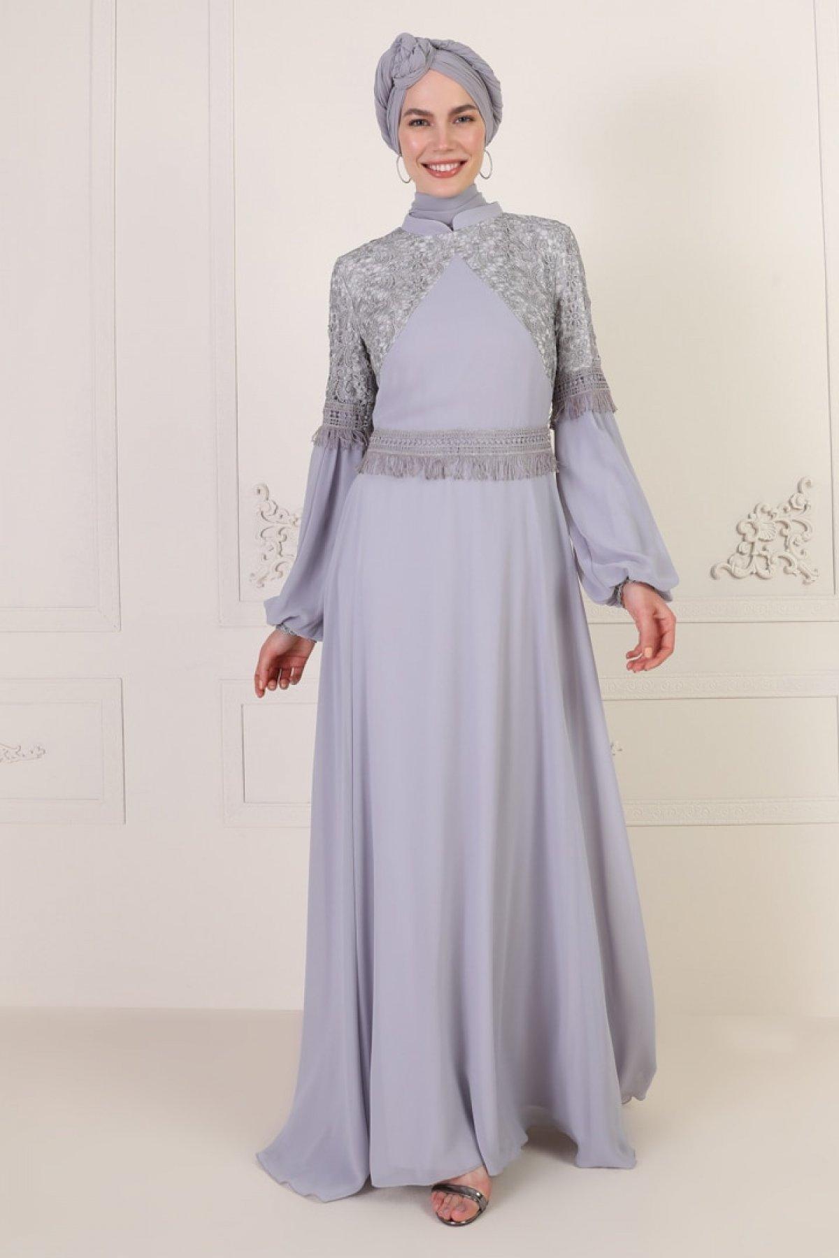 Mwedding Gri Güpür Detaylı Abiye Elbise