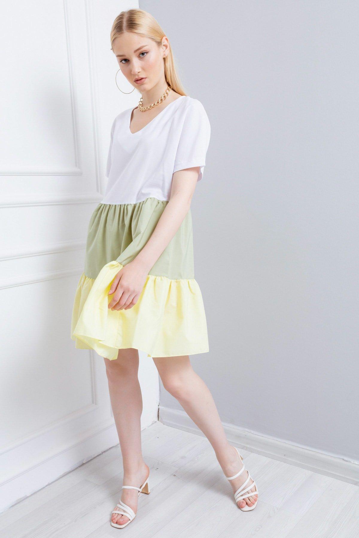 Lafaba Sarı Volanlı Yazlık Mini Elbise